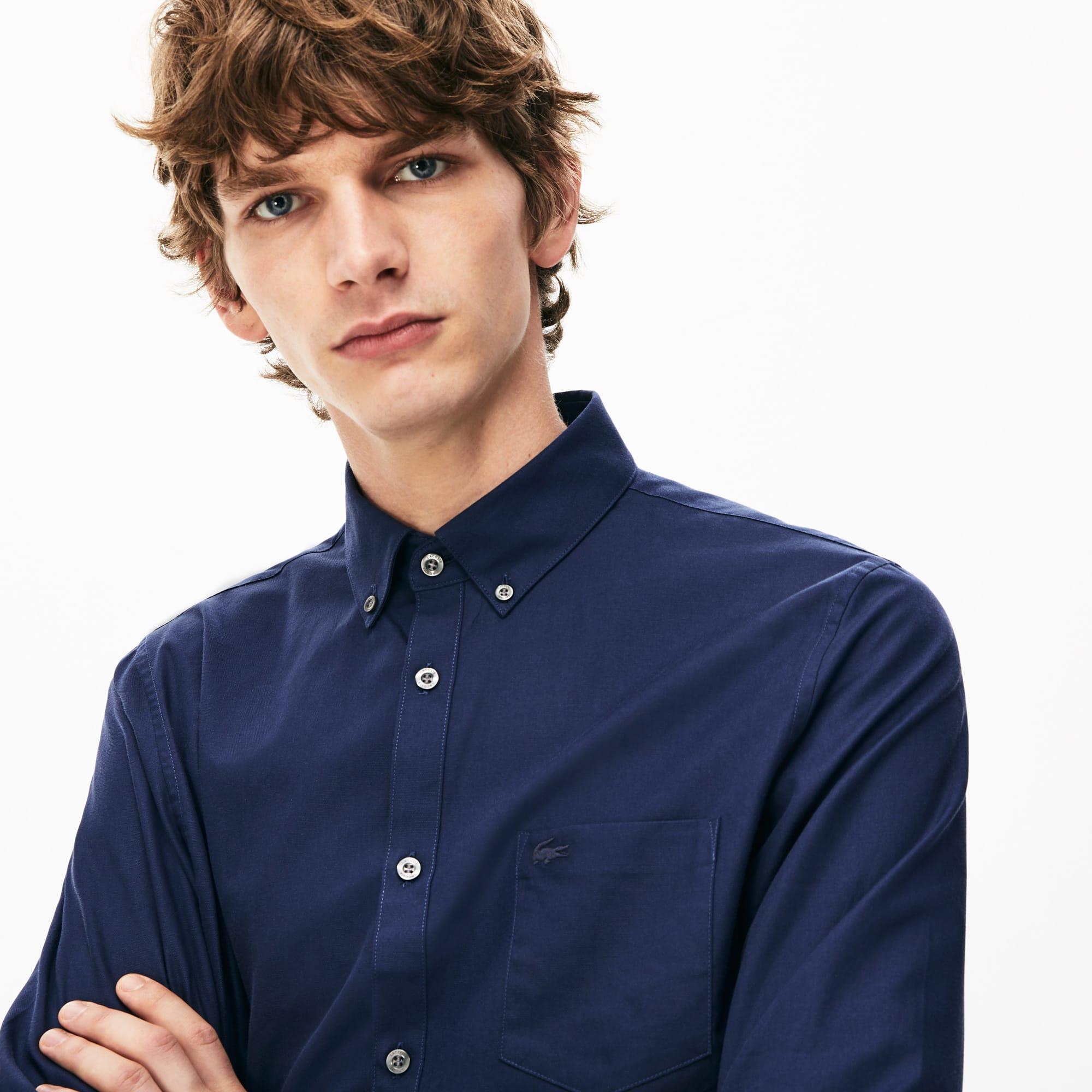 Camisa Regular Fit em mini piqué de algodão unicolor