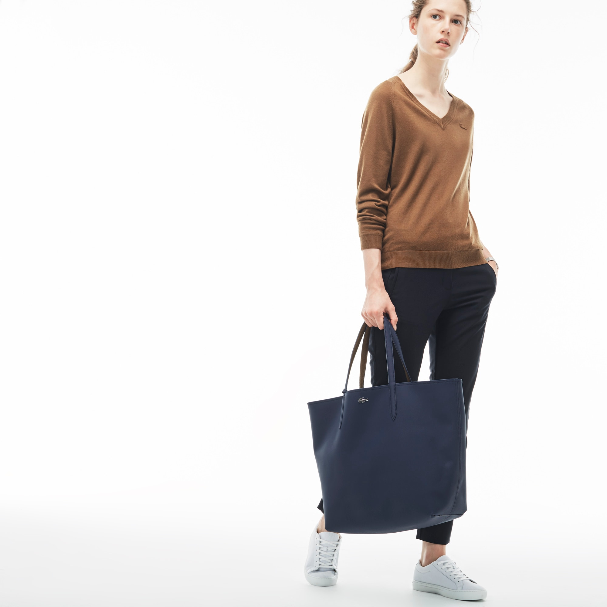Grande mala de formato quadrado Anna reversível e bicolor