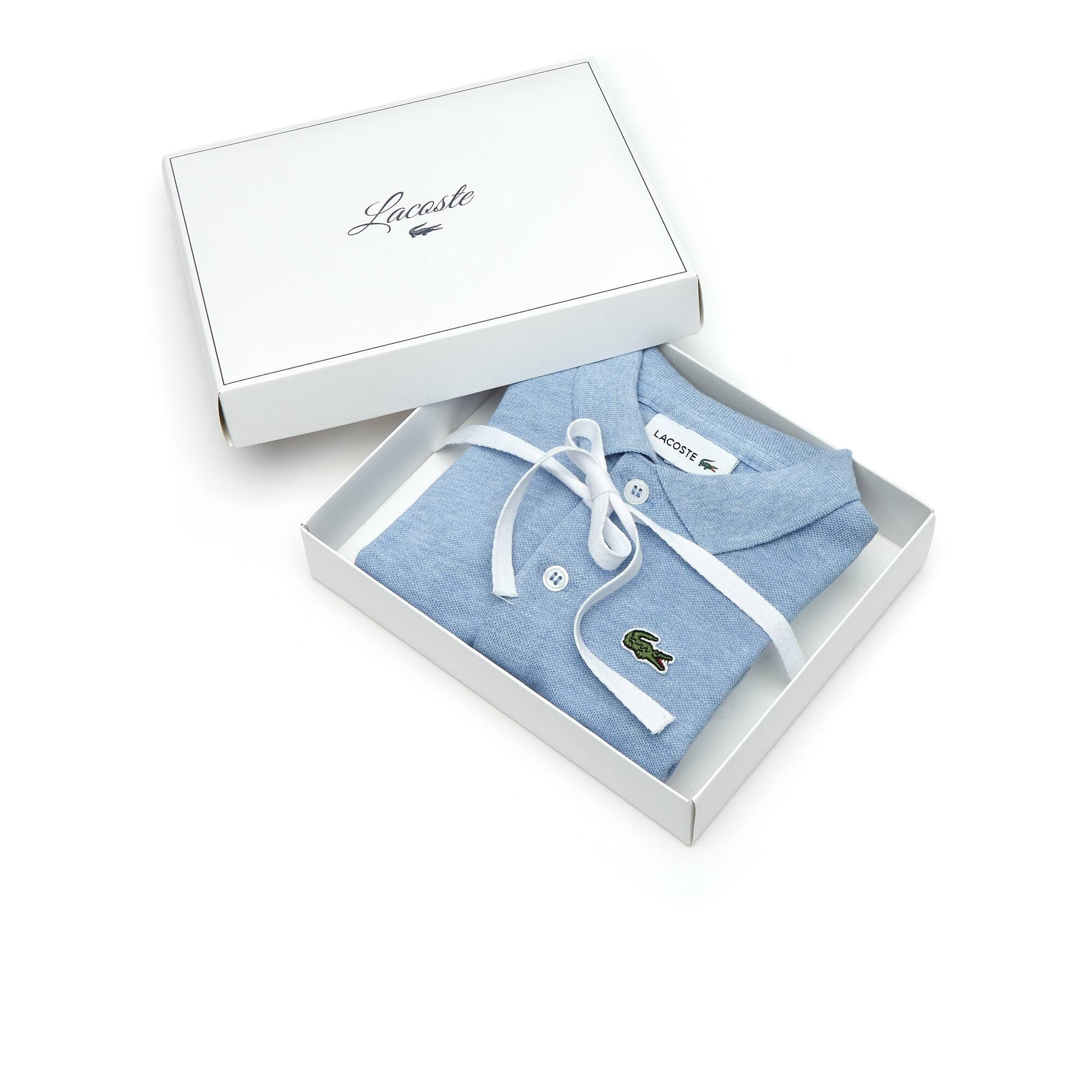 Caixa de presente body Menino em piqué de algodão stretch unicolor