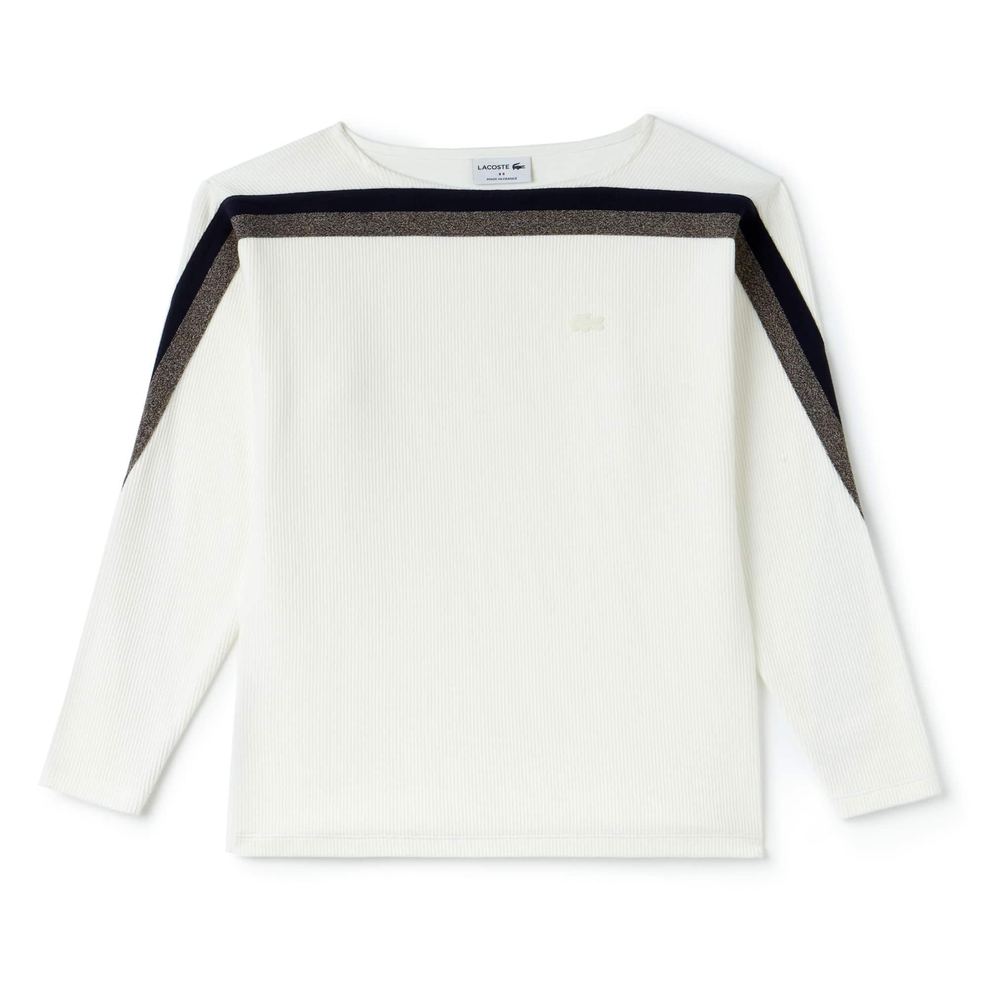 Sweatshirt com gola barco Made in France em algodão canelado com faixas a contrastar