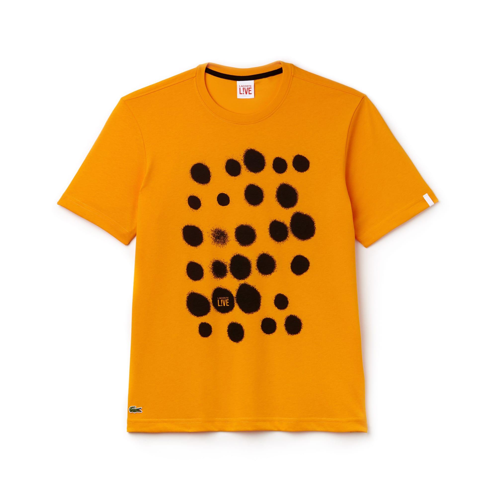 T-shirt com decote redondo Lacoste LIVE em jersey com impressão às pintas