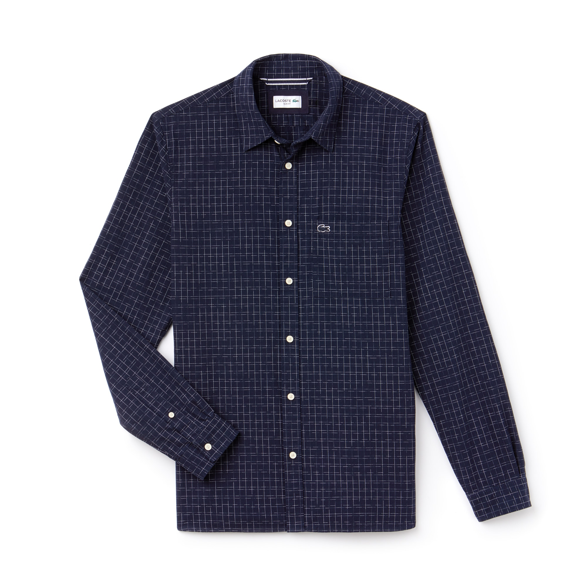 Camisa slim fit em popelina desbotada com impressão Ikat