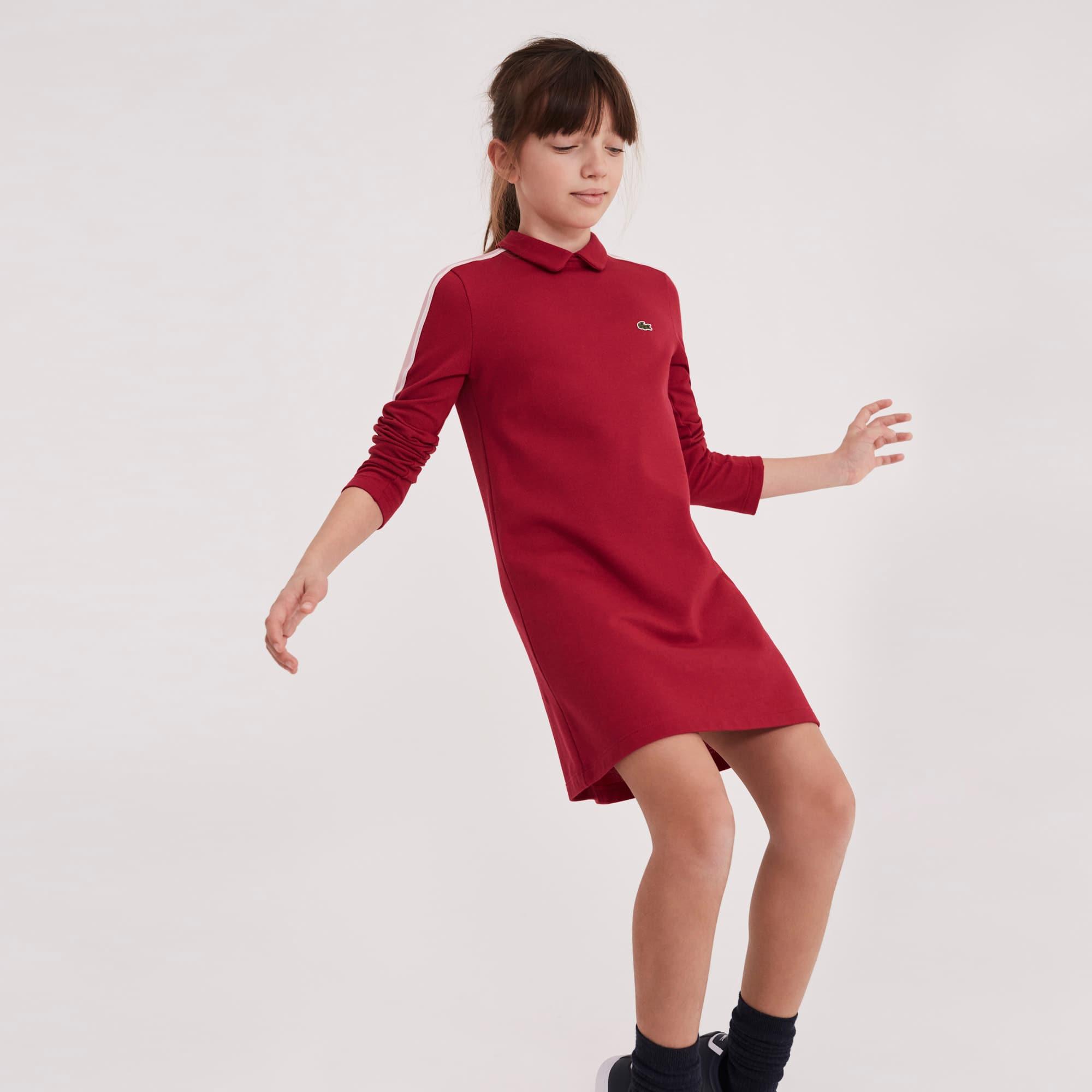 Vestido polo Menina de manga comprida em petit piqué com faixa a contrastar
