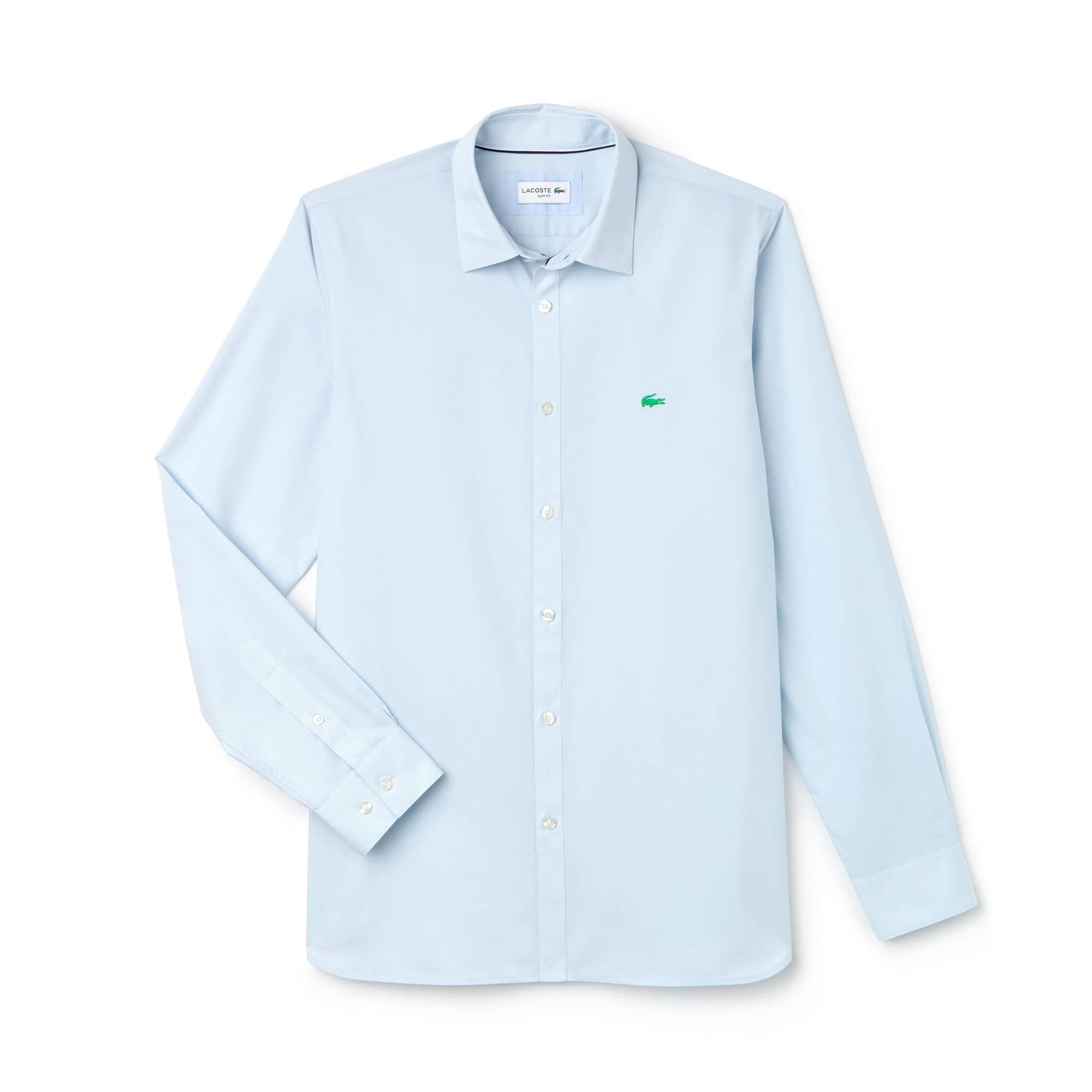 Camisa slim fit em popelina jacquard às riscas