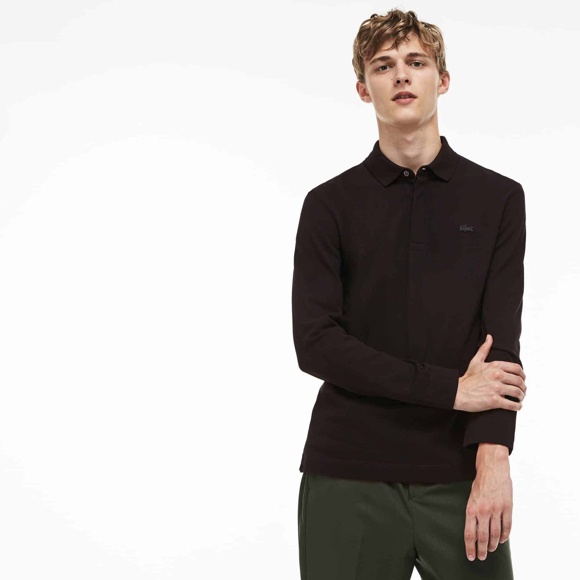 Polo Paris Regular Fit Lacoste de manga comprida em piqué de algodão stretch