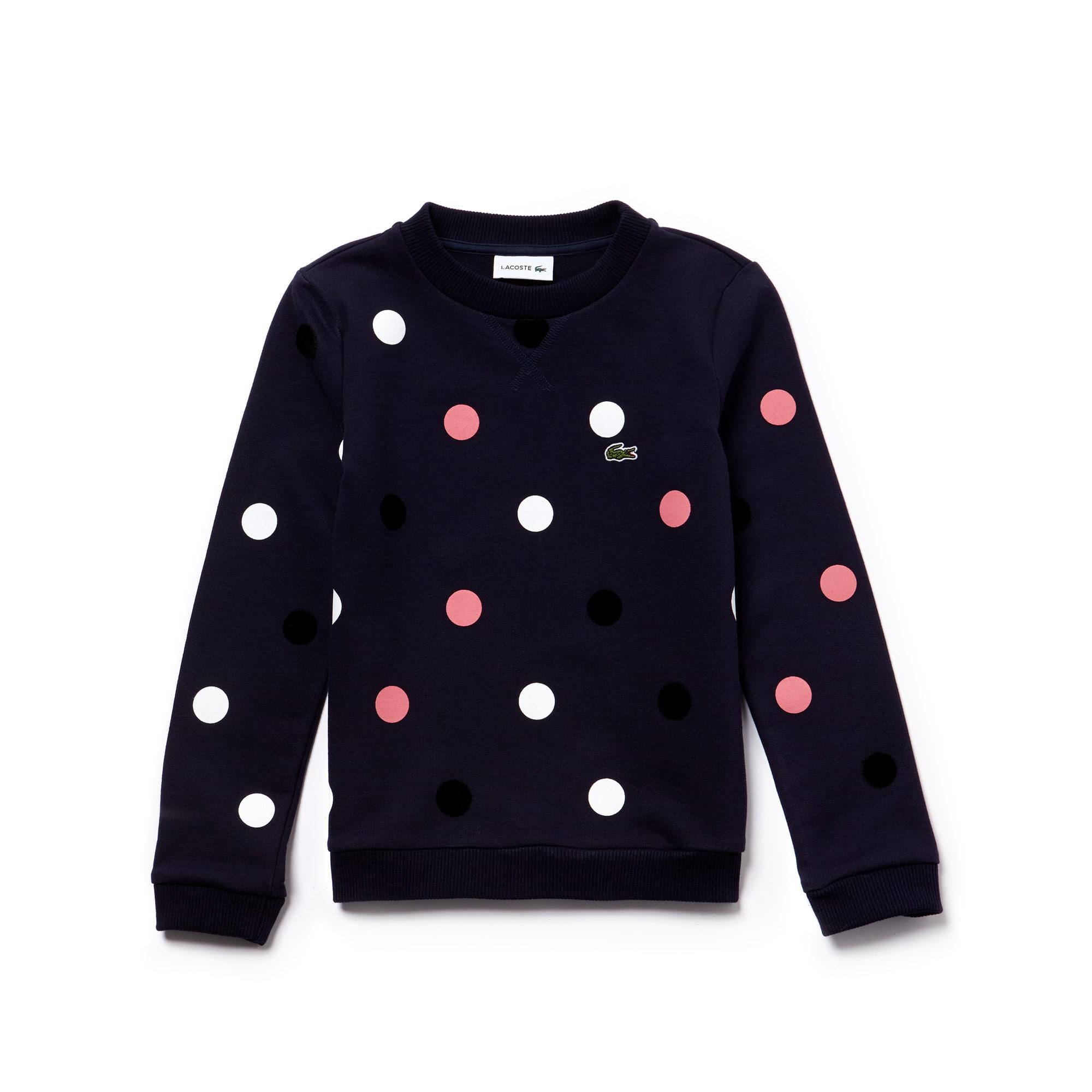 Sweatshirt Menina em moletão de algodão stretch às pintas