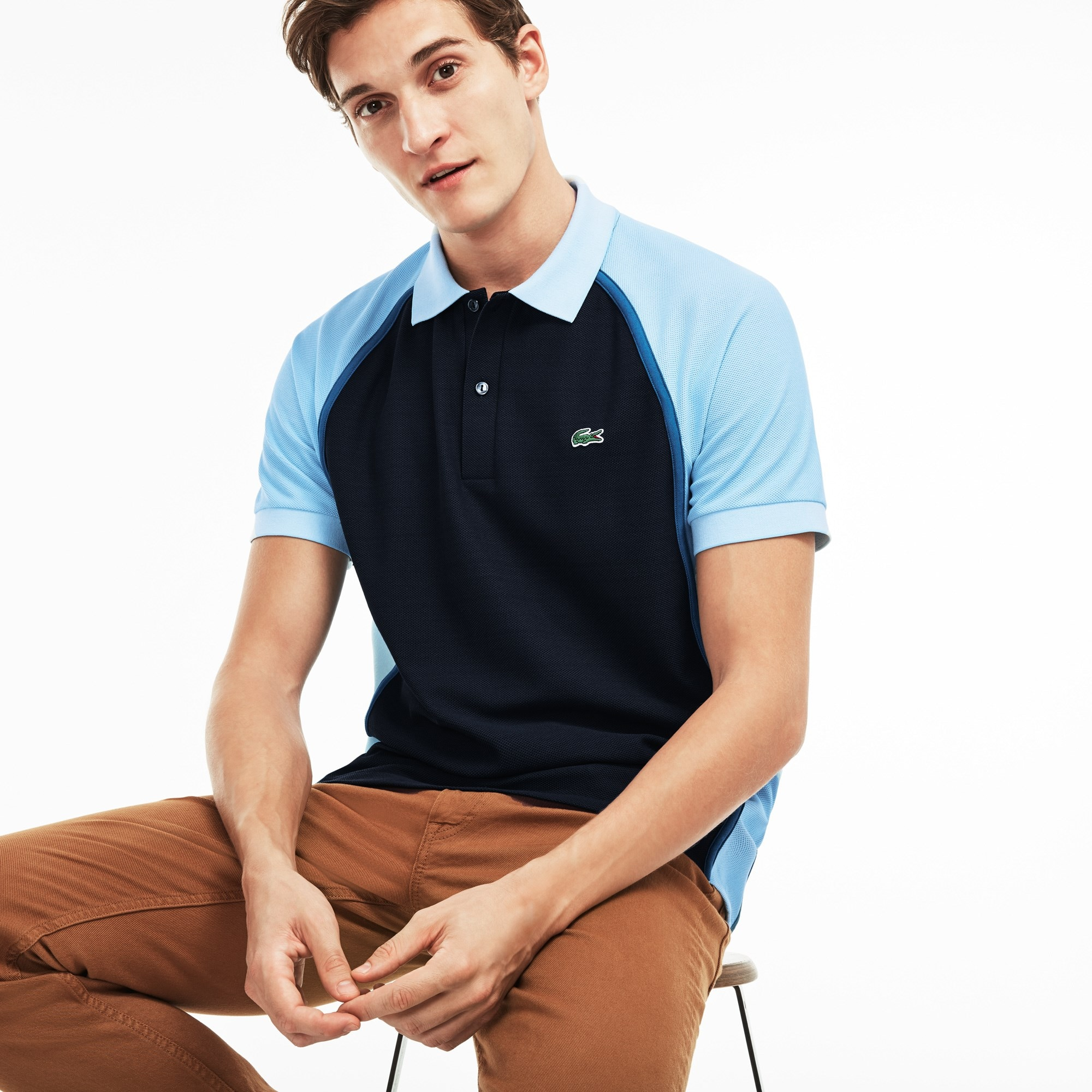 Polo regular fit Lacoste Made in France em piqué técnico color block