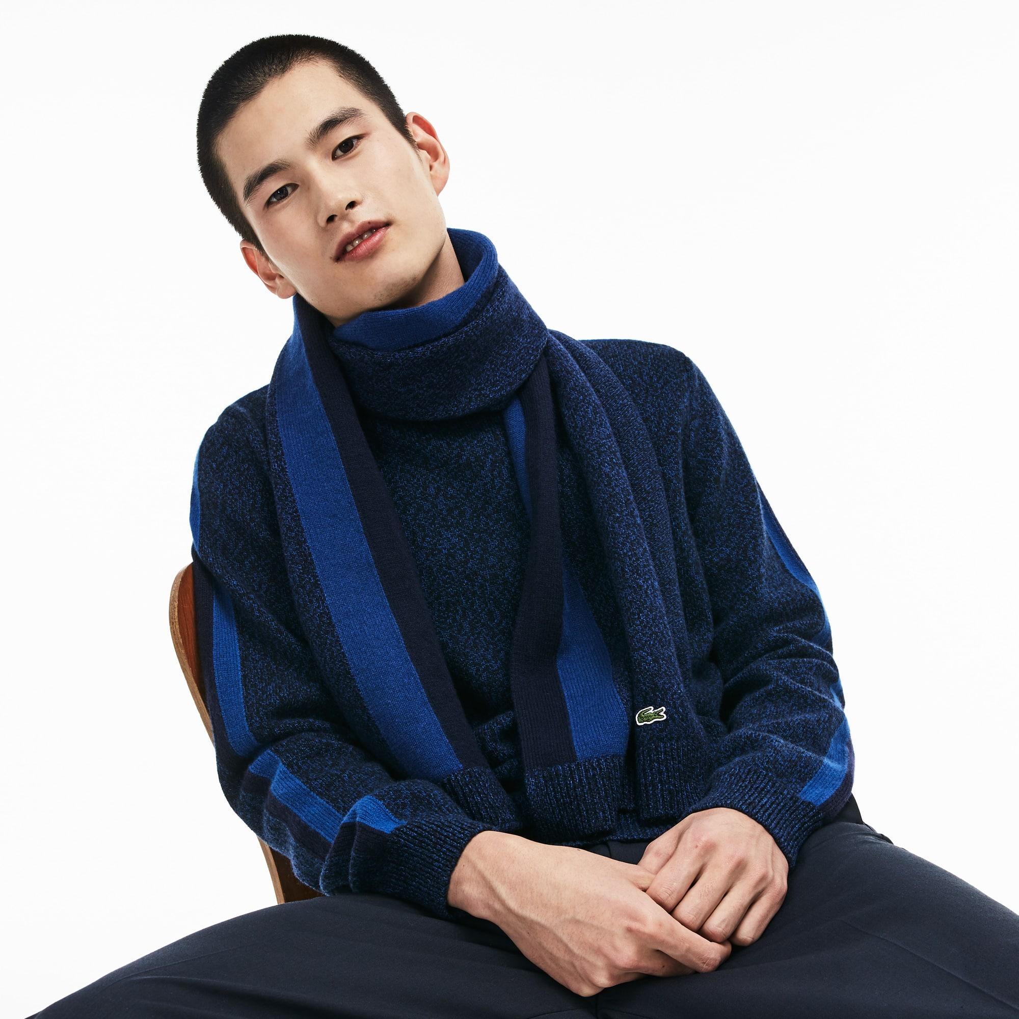 Echarpe em jersey de lã mouliné com faixa a contrastar