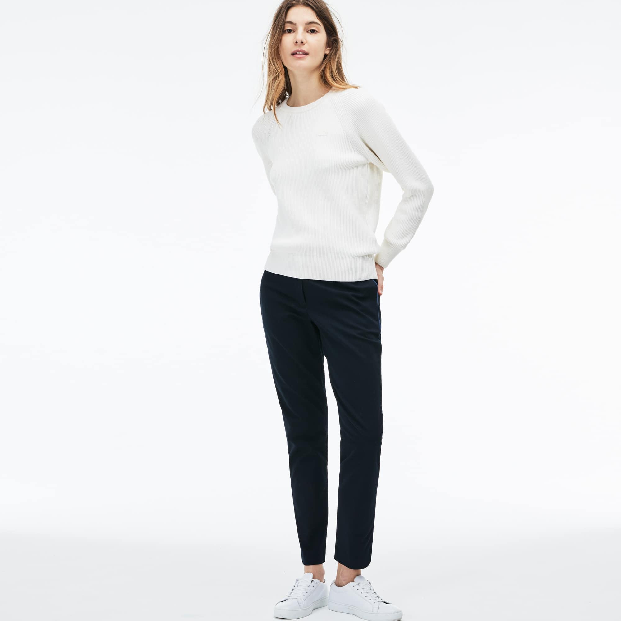 Camisola decote redondo em algodão e lã canelados unicolor