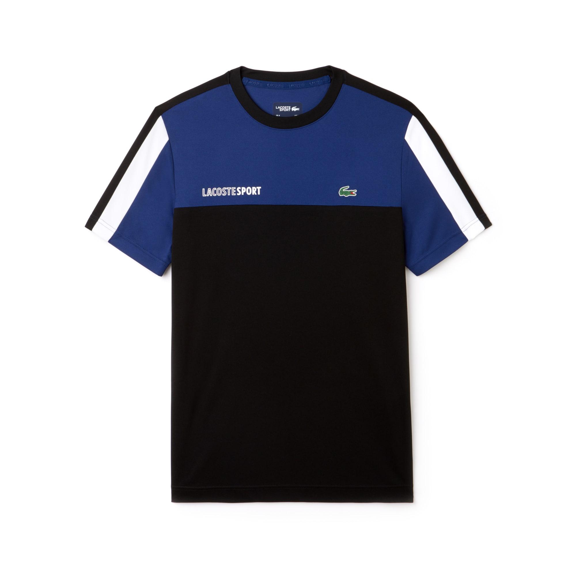 T-shirt decote redondo Tennis Lacoste SPORT em piqué técnico color block