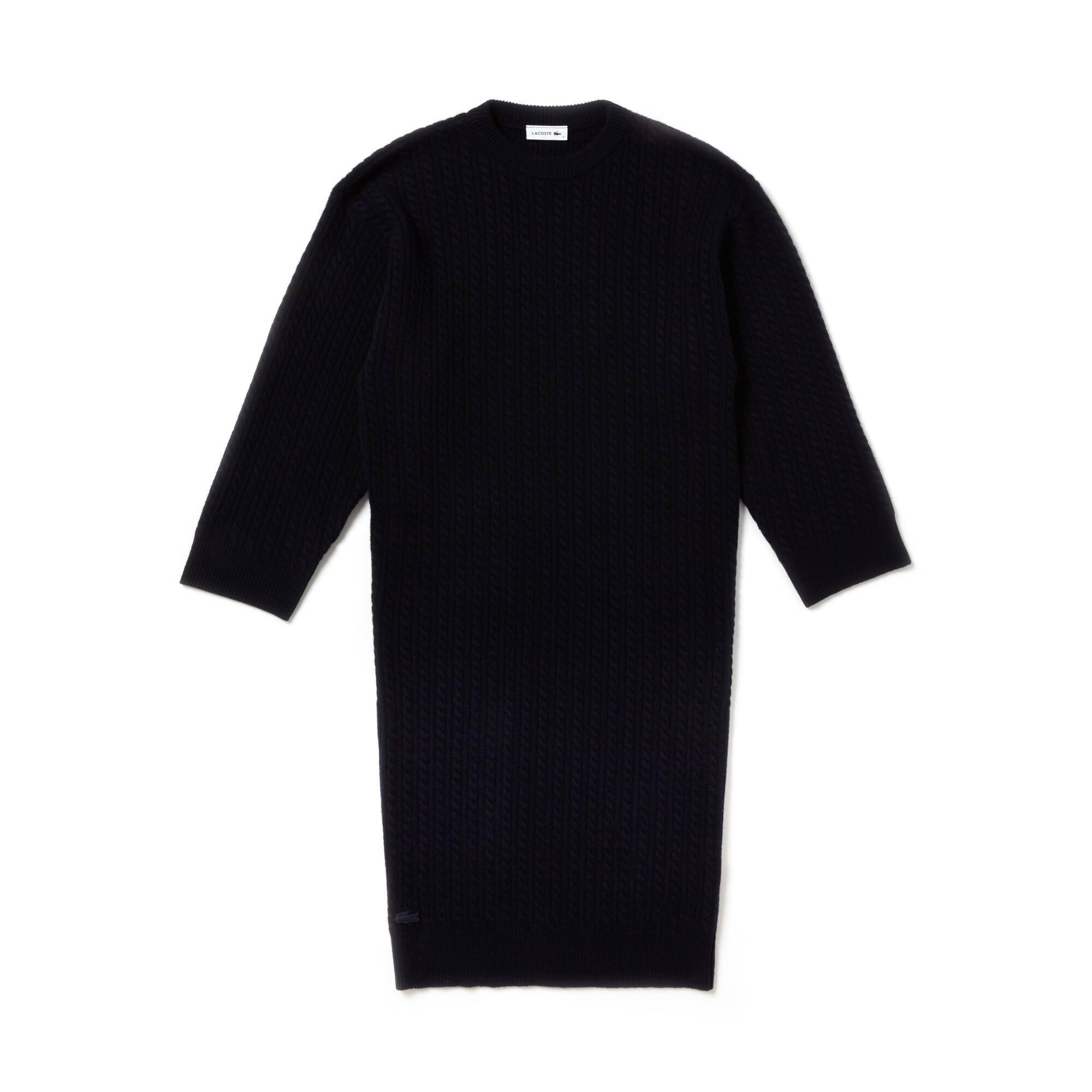 Vestido tipo sweater de caxemira e lã oversize do desfile para mulher