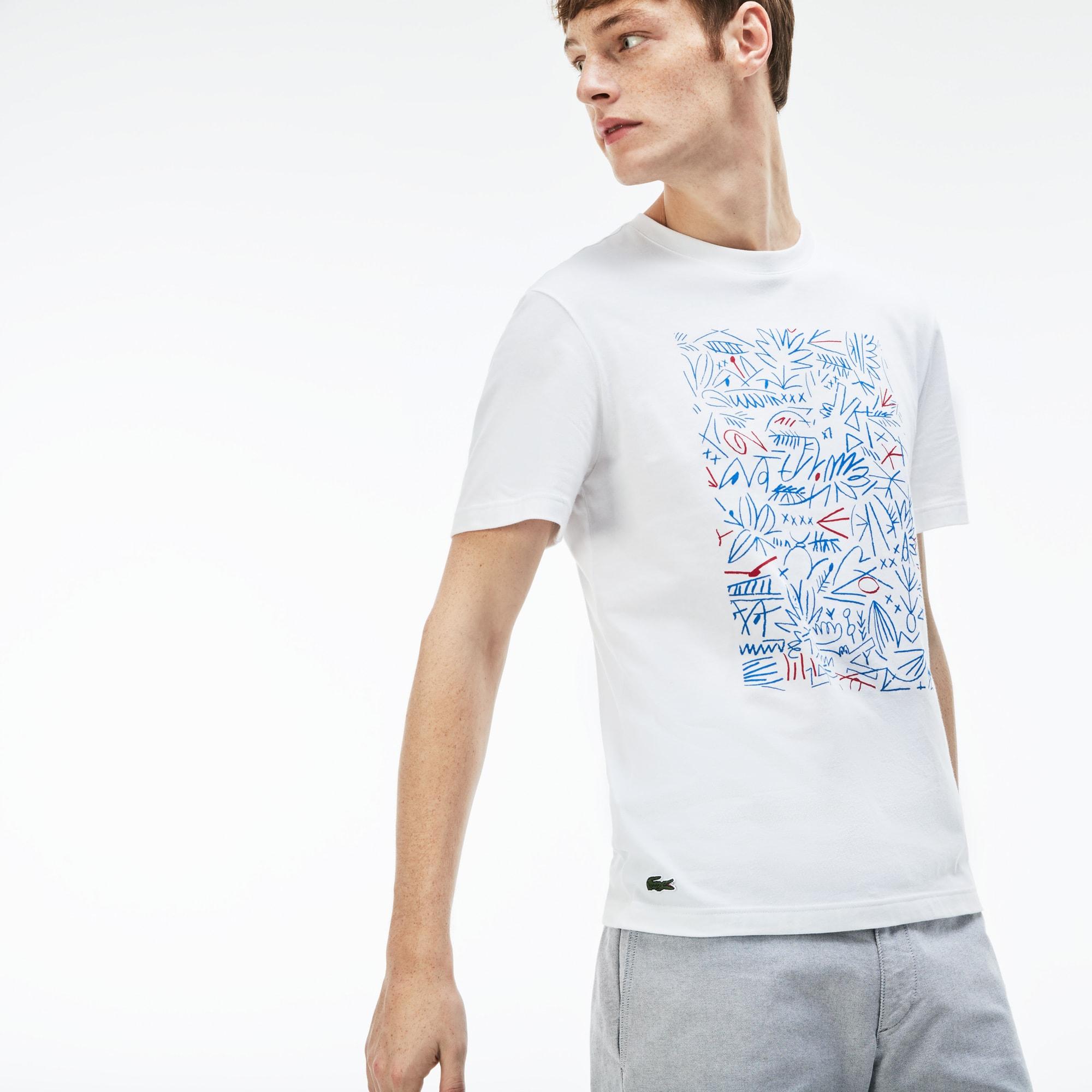 T-shirt decote redondo em jersey de algodão com impressão