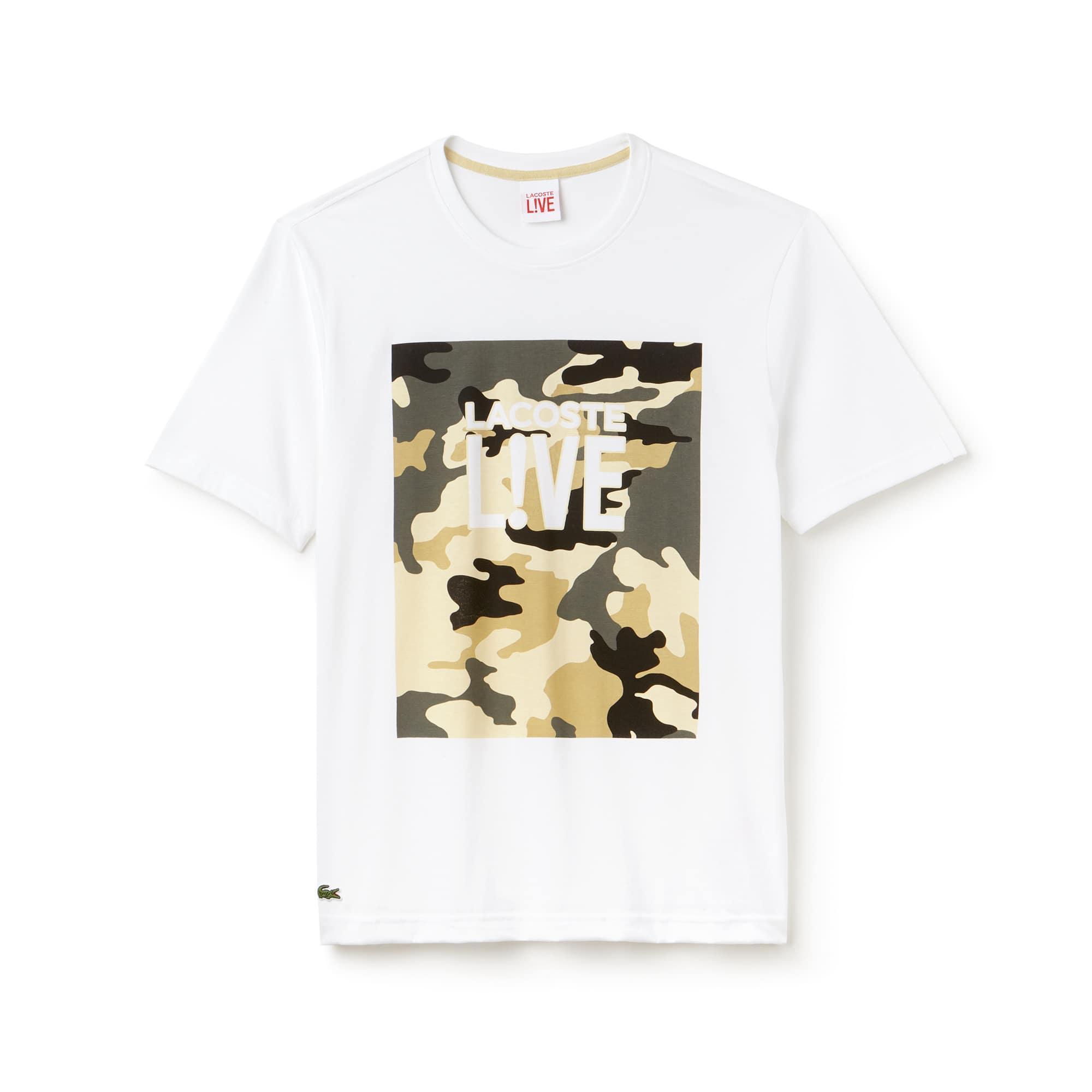 T-shirt decote redondo Lacoste LIVE em jersey com marcação impressa