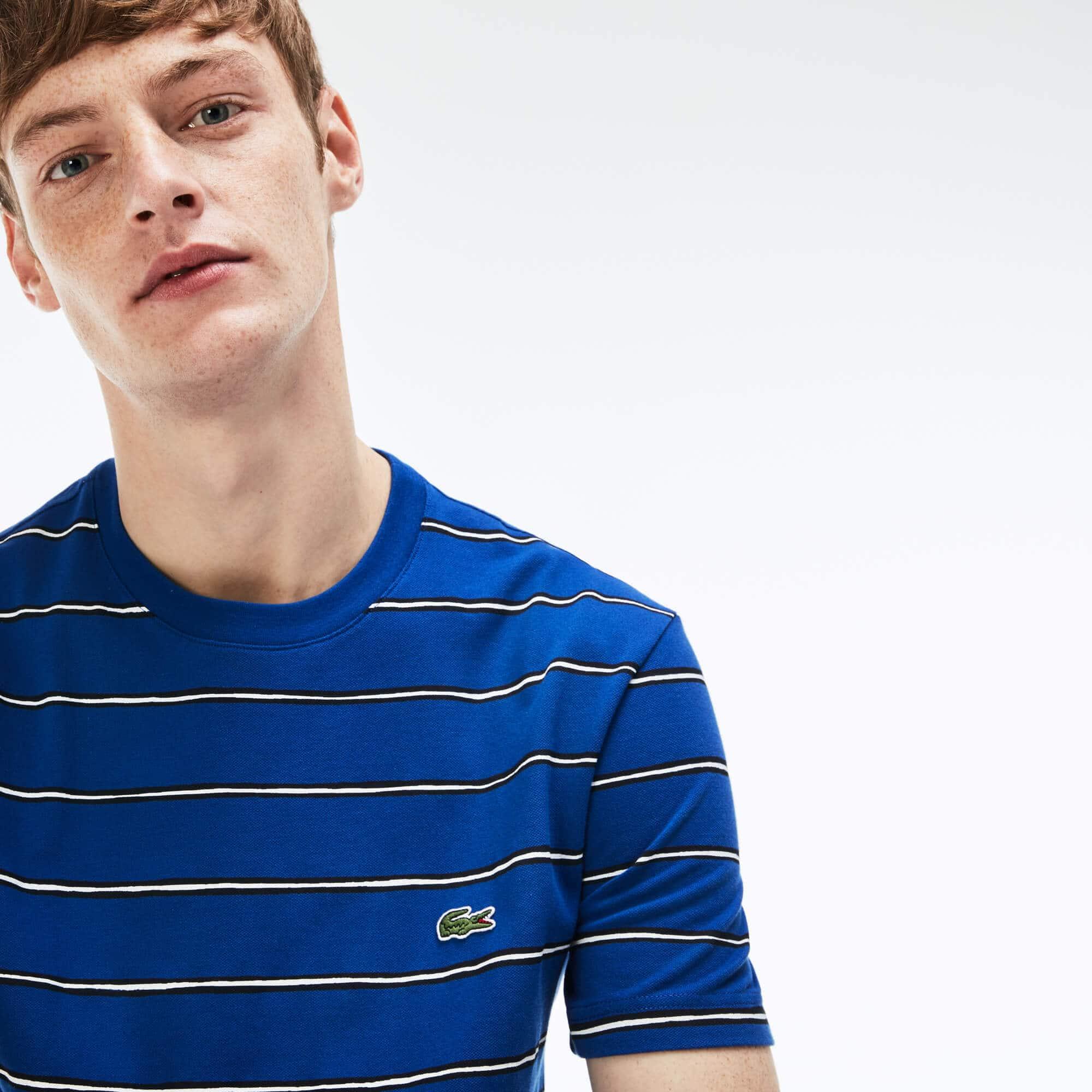 T-shirt decote redondo em mini piqué de algodão com impressão às riscas