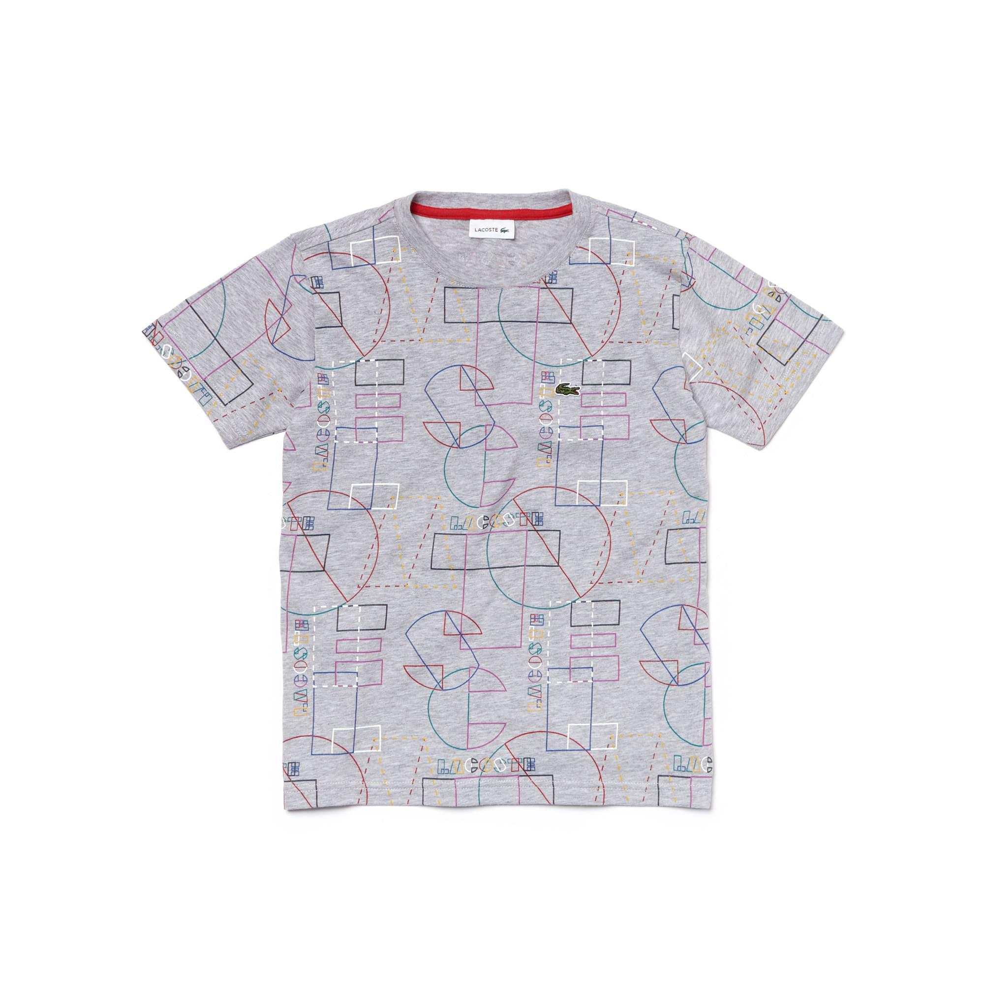 T-shirt Menino decote redondo em jersey de algodão com impressão geométrica