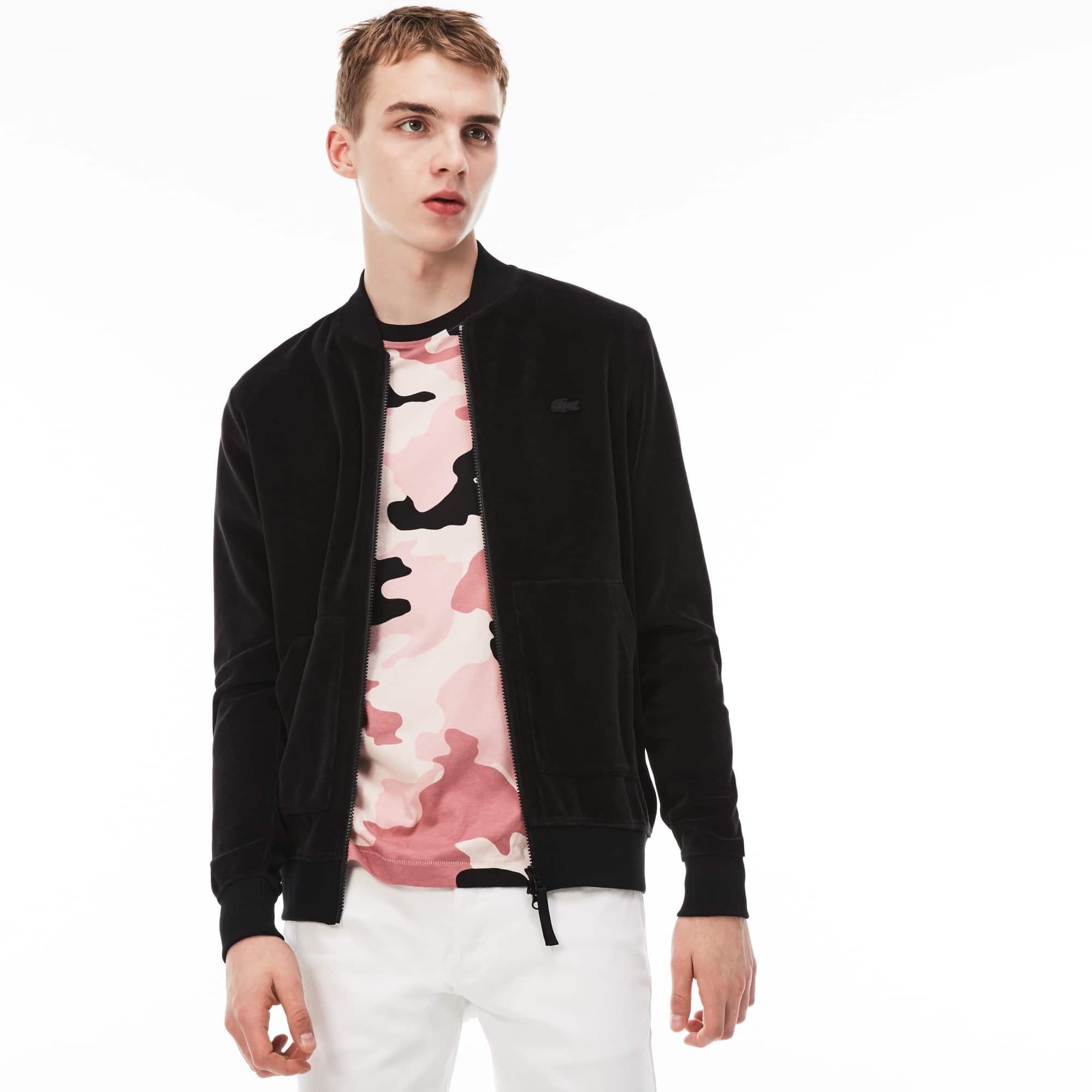Sweatshirt com fecho de correr decote efeito blusão Lacoste LIVE em veludo unicolor
