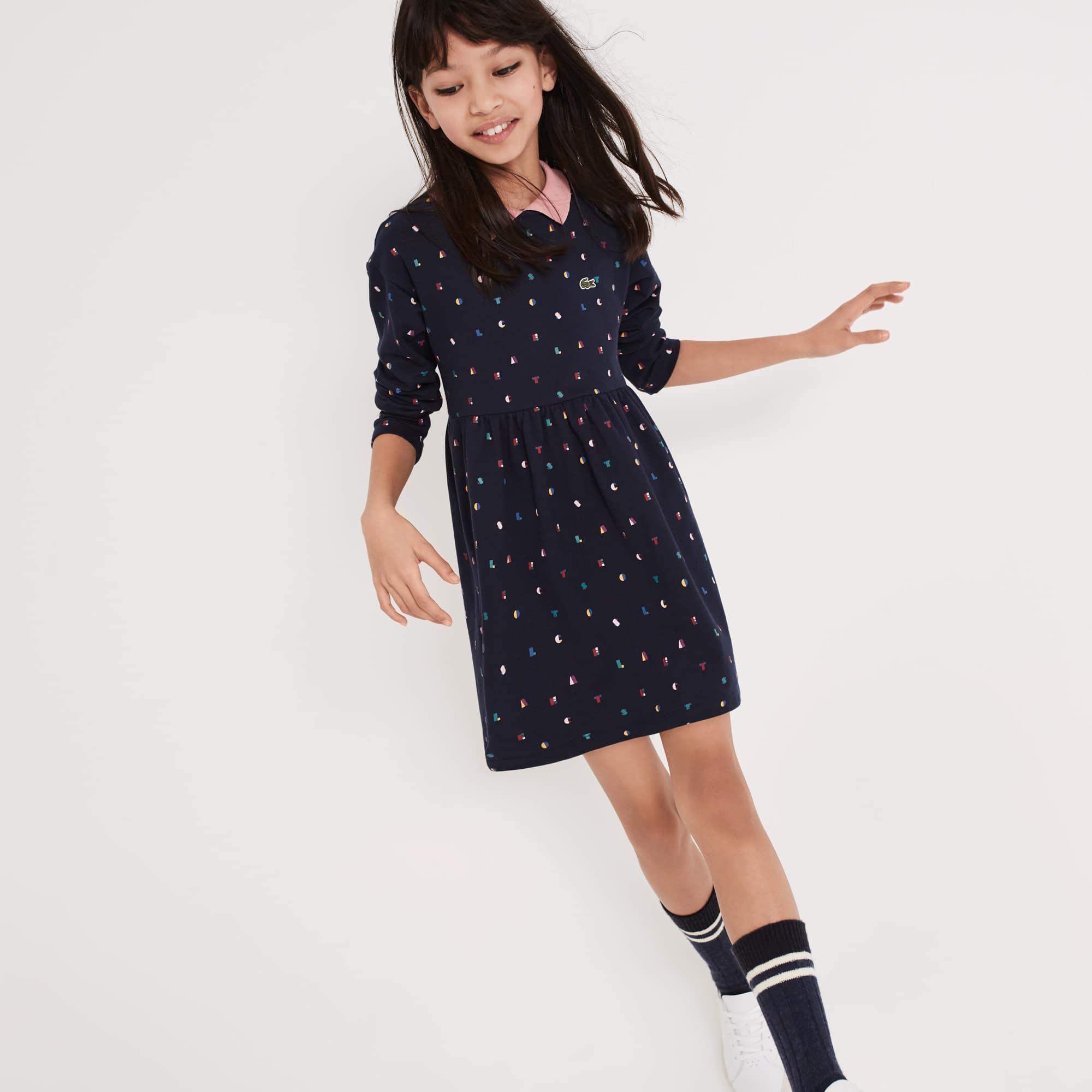 Vestido polo Menina de manga comprida em moletão com impressão