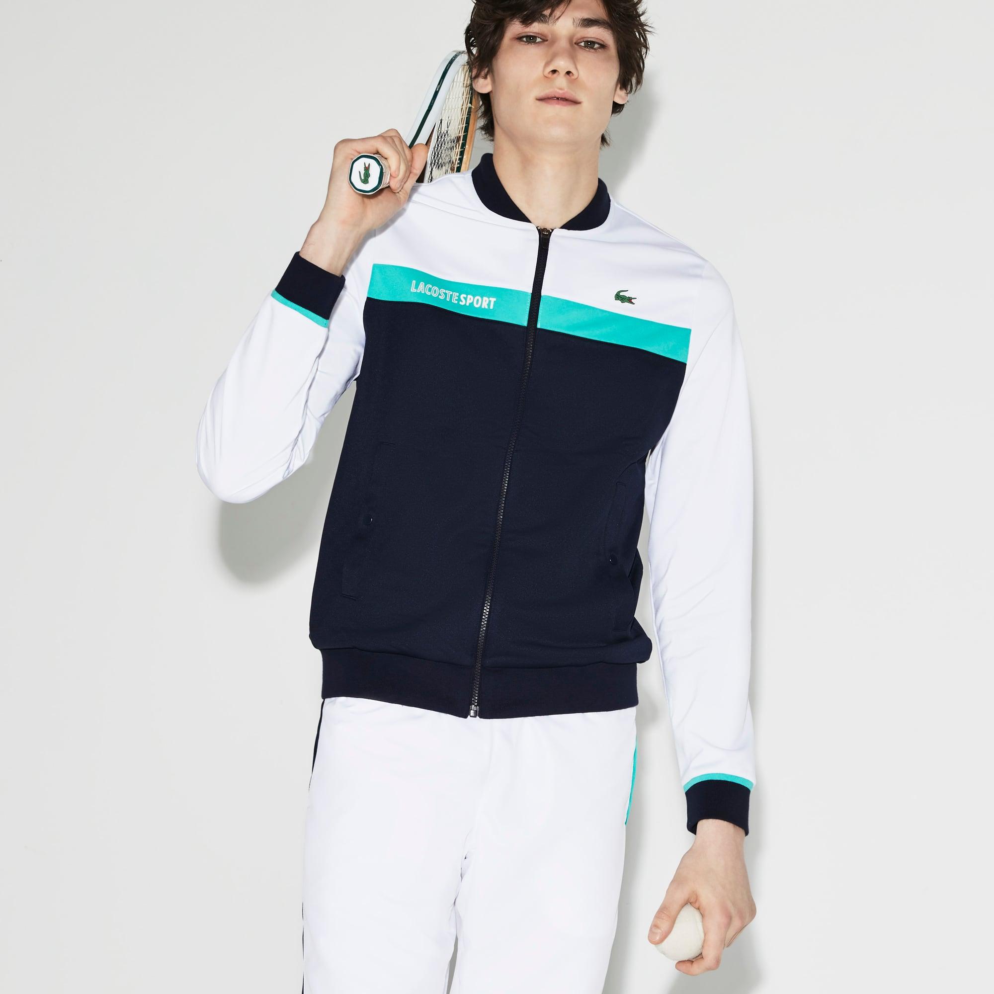 Sweatshirt com fecho de correr Tennis Lacoste SPORT em piqué técnico color block