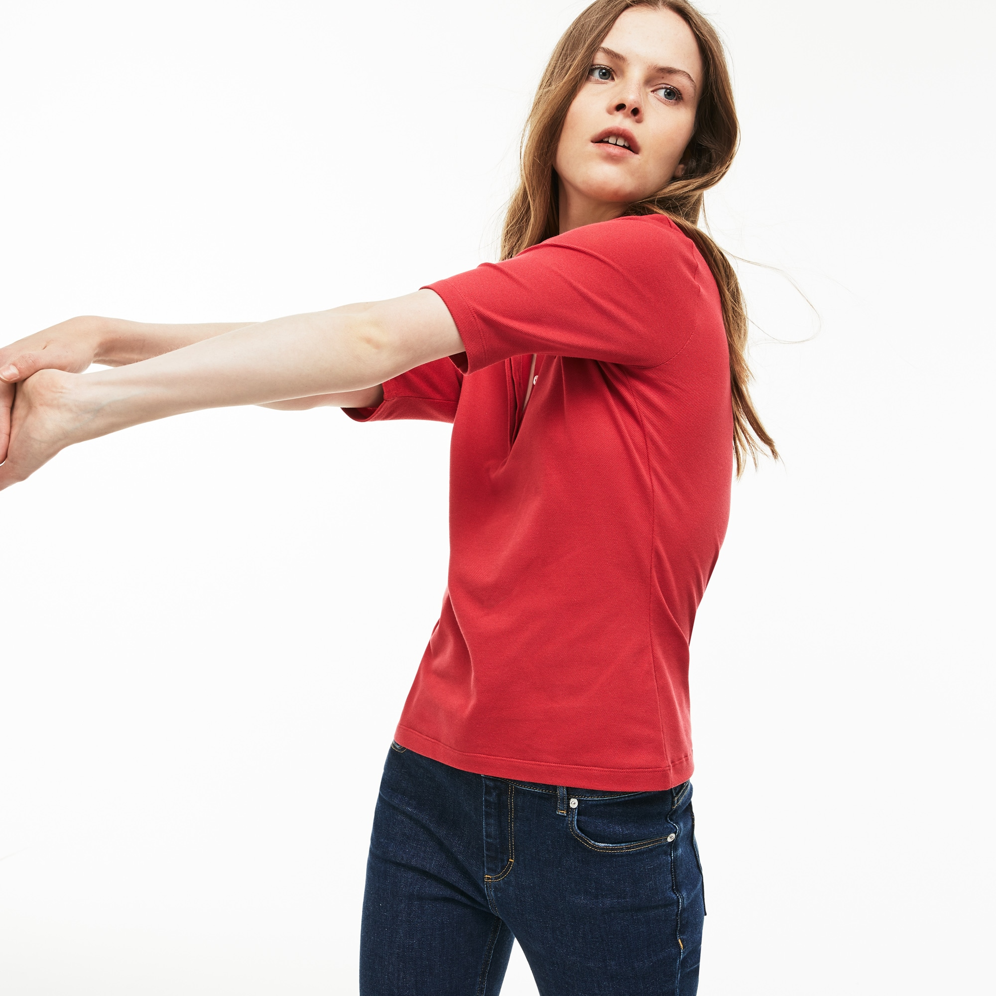 Polo slim fit Lacoste manga três quartos em mini piqué stretch