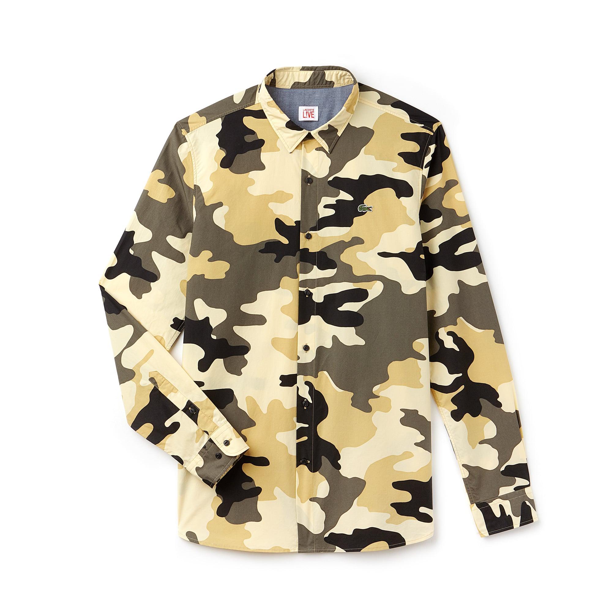 Camisa slim fit Lacoste LIVE em popelina com impressão camuflagem