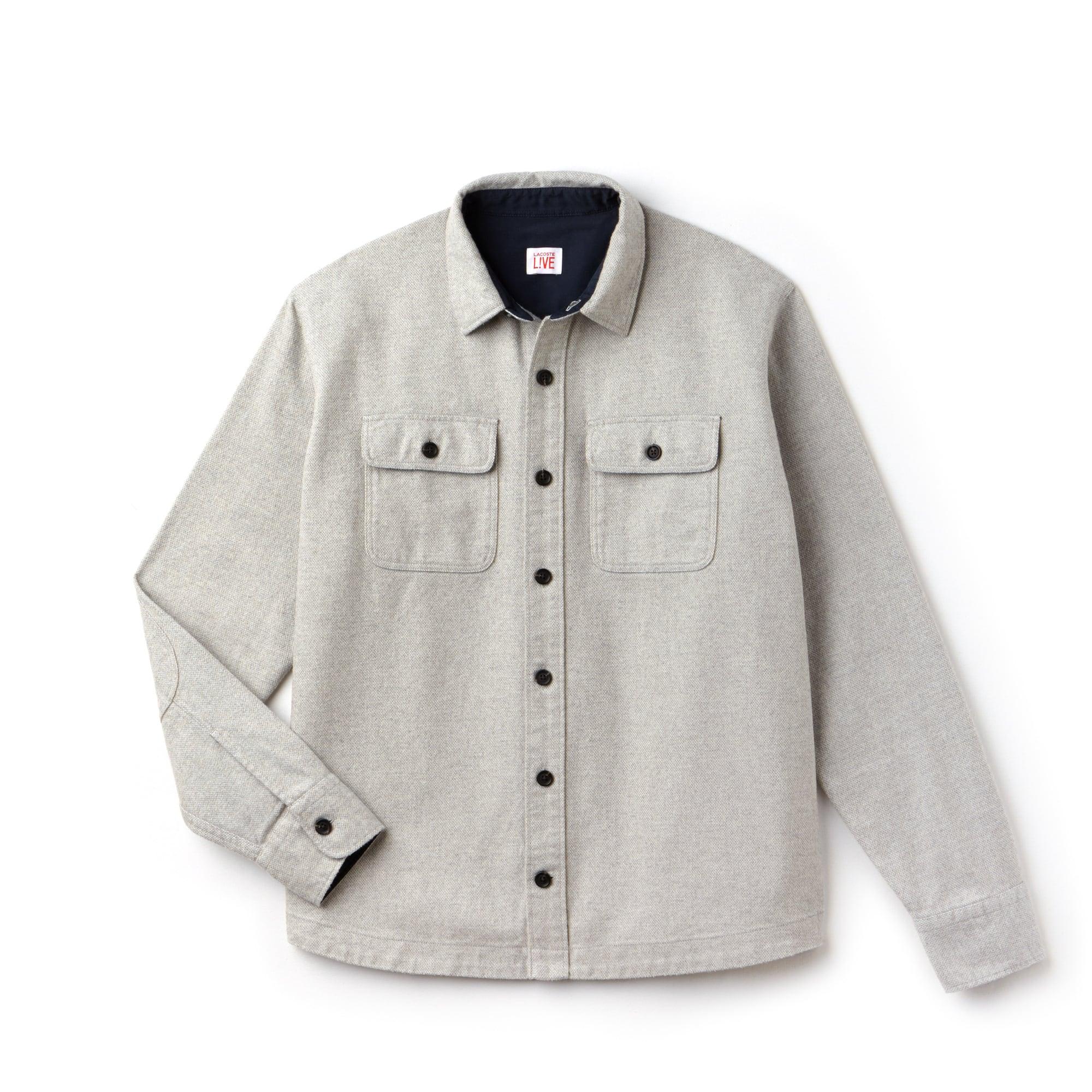 Camisa boxy fit Lacoste LIVE em flanela de algodão unicolor
