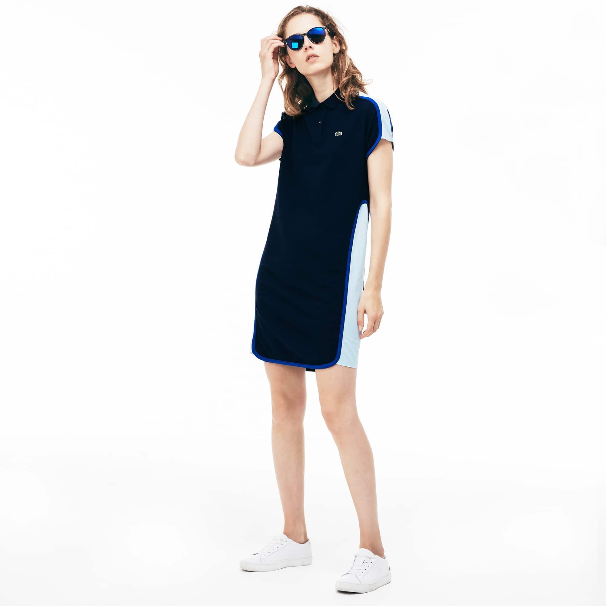 Vestido polo Made in France em piqué color block