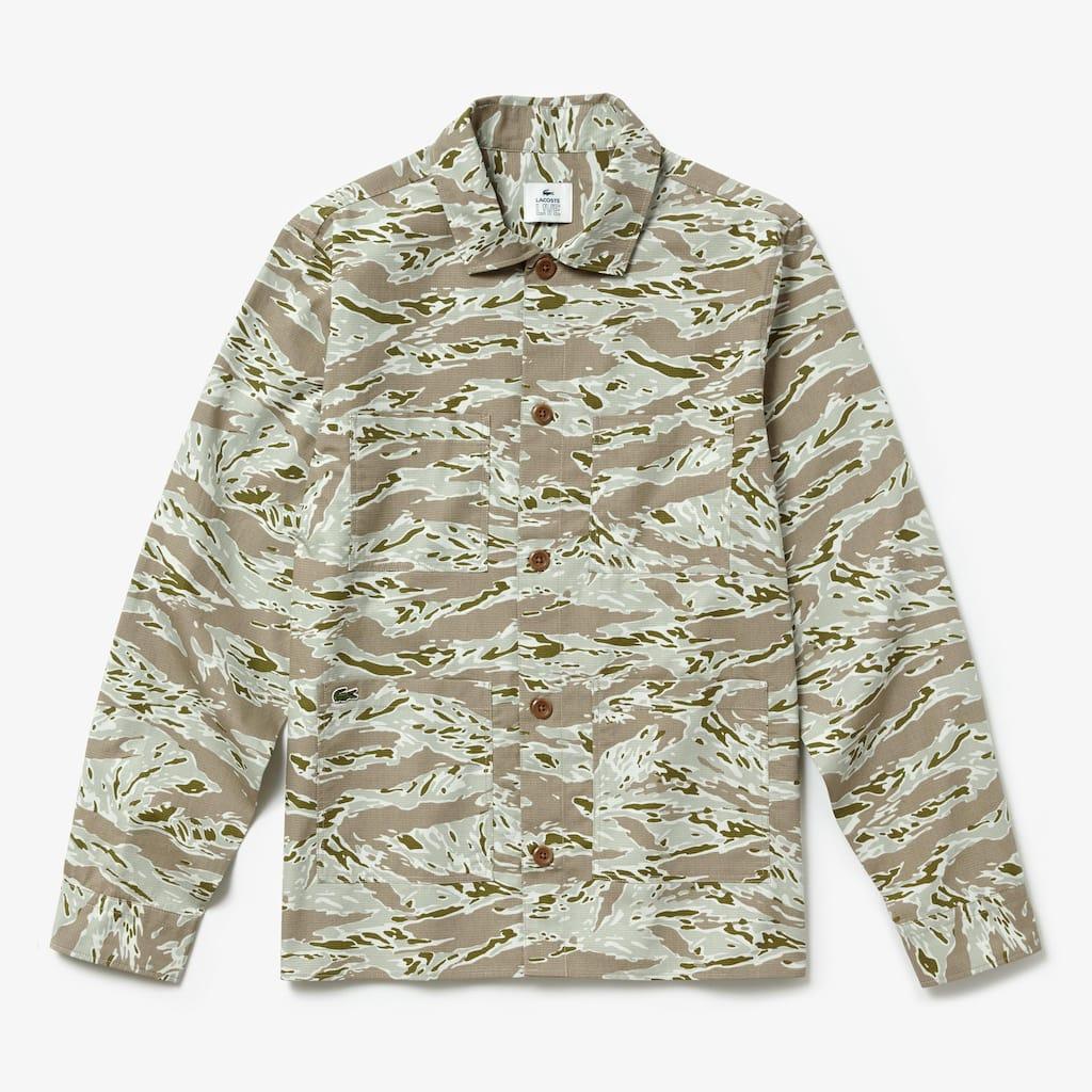 Camisa de algodão com estampado de camuflagem Lacoste LIVE para homem 67575f0a4e