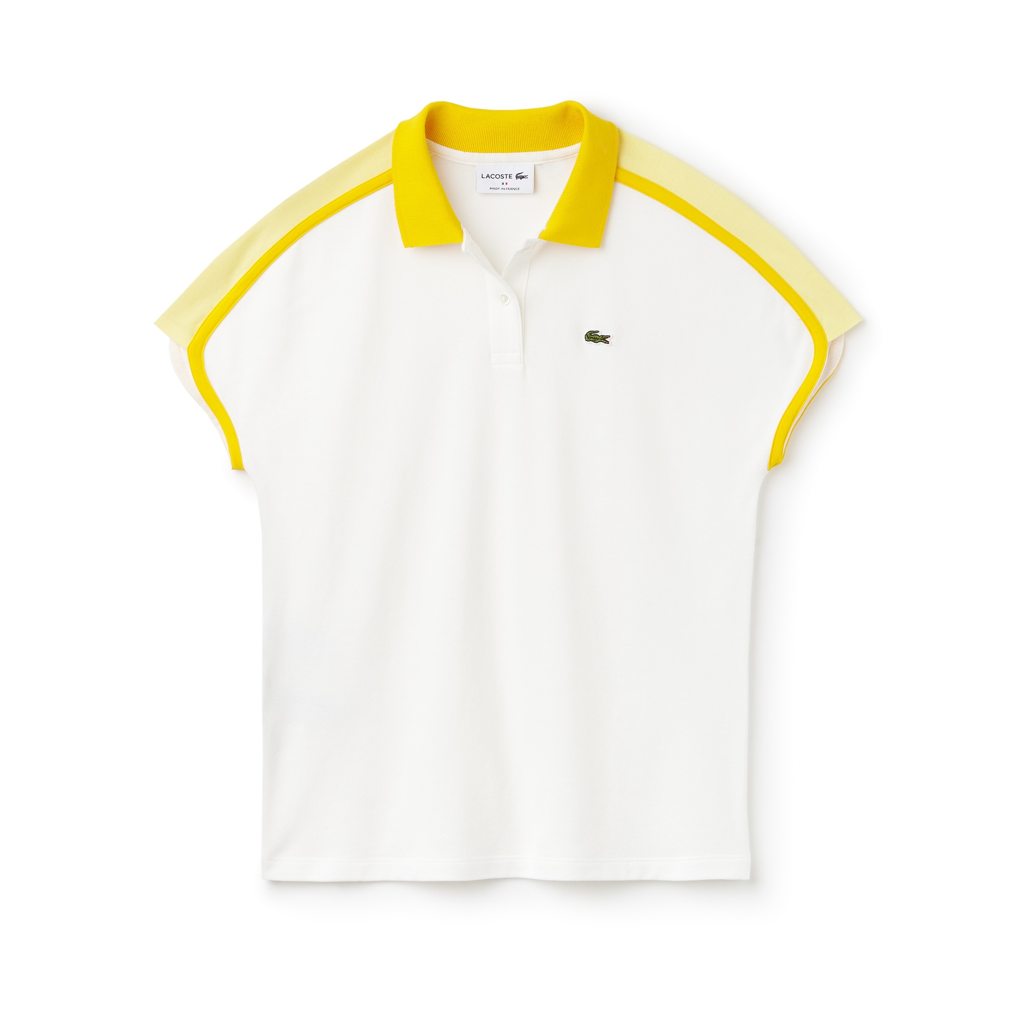 Polo Lacoste Made in France em piqué crepe color block