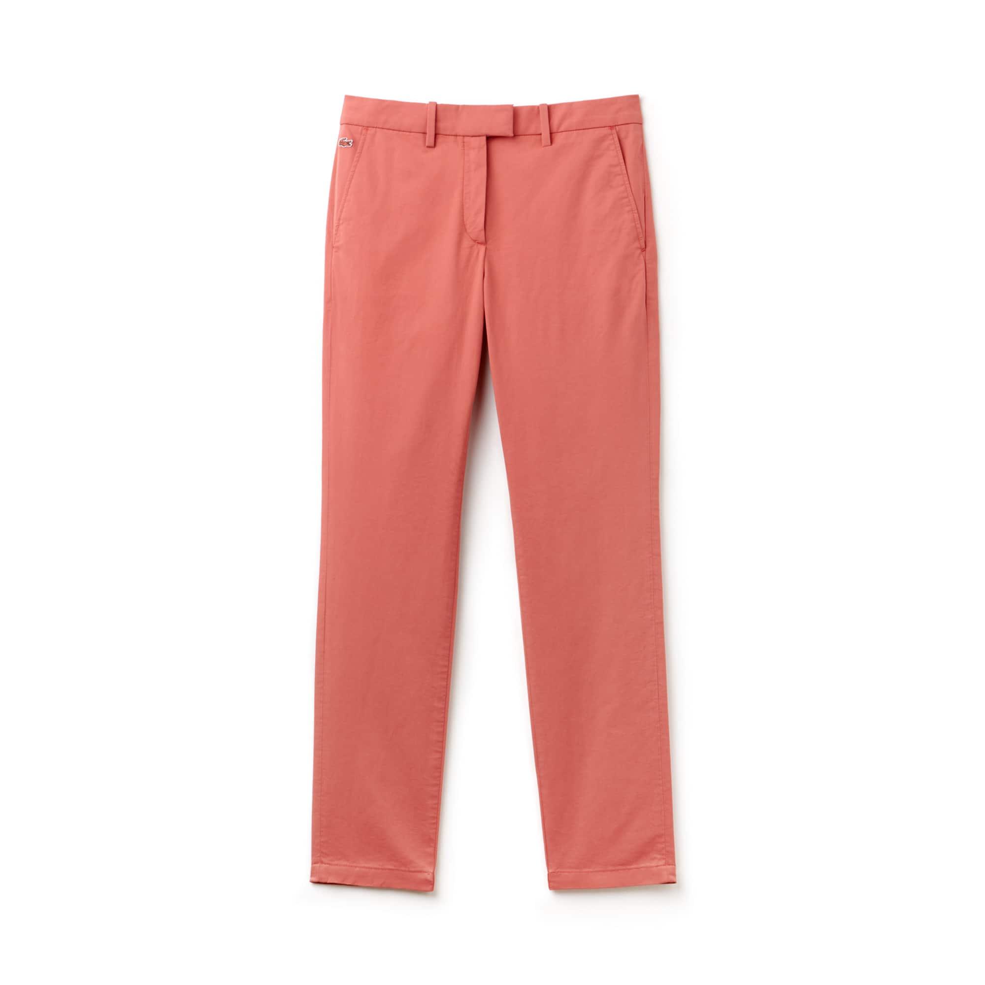 Calças chino com pinças regular fit em gabardina stretch unicolor