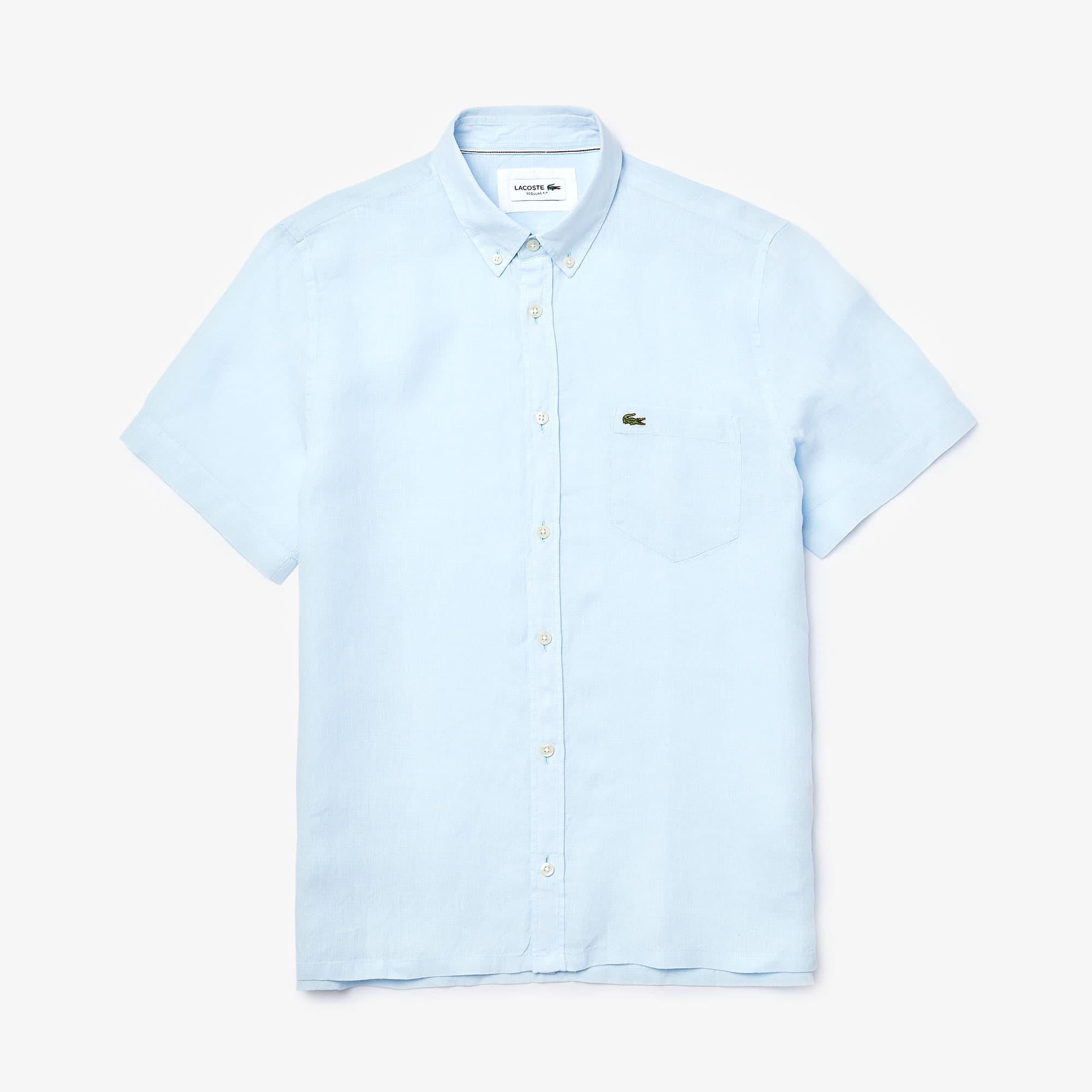 Camisa regular fit de manga curta em tela de linho unicolor