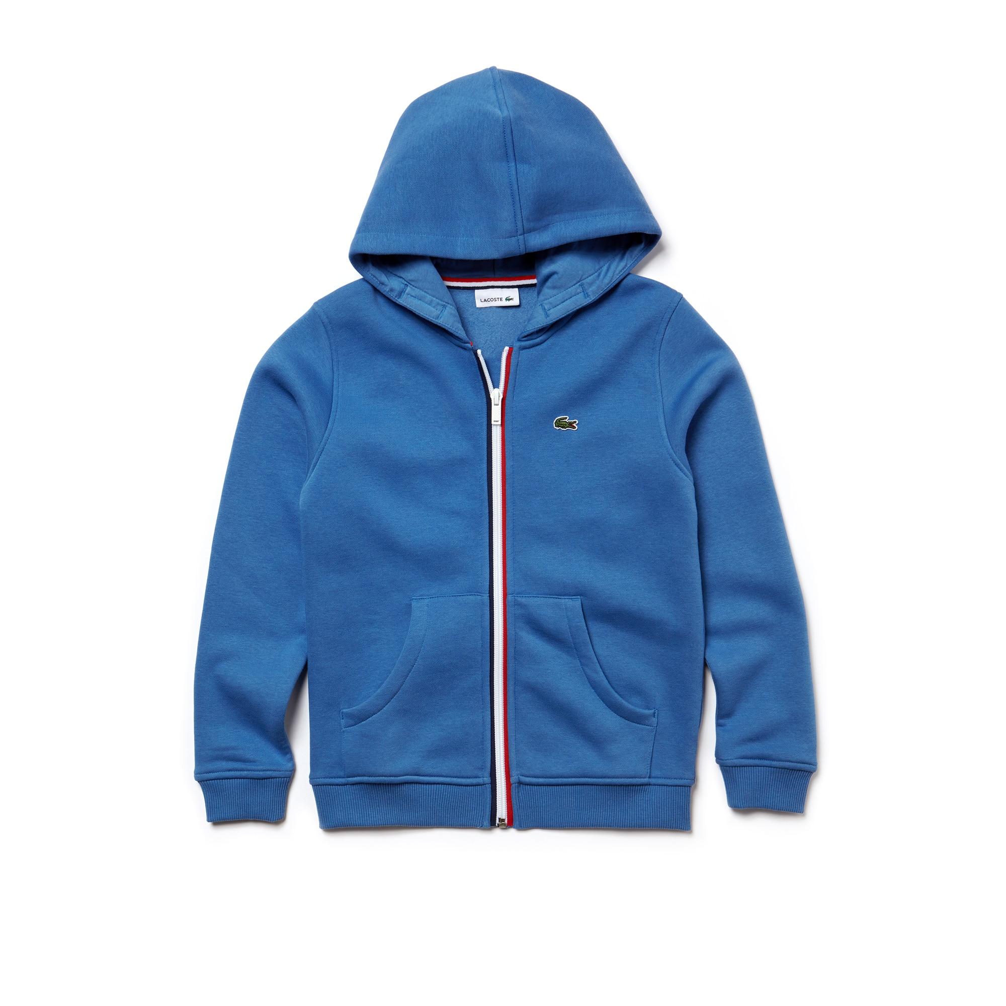 Sweatshirt Criança com fecho de correr e capuz em moletão