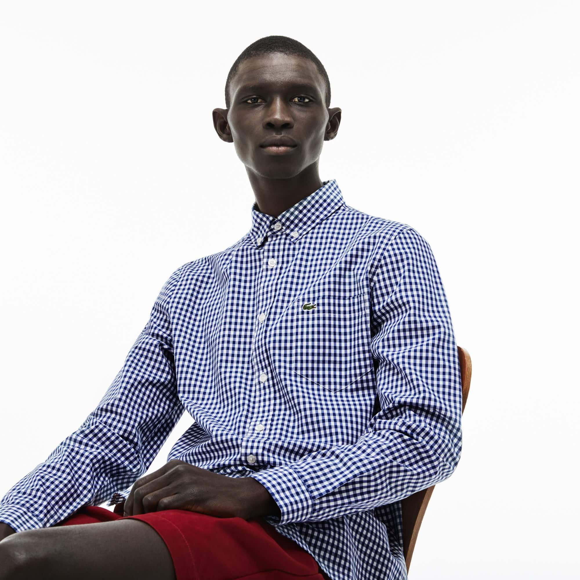 Camisa Regular Fit em popelina de algodão aos quadradinhos