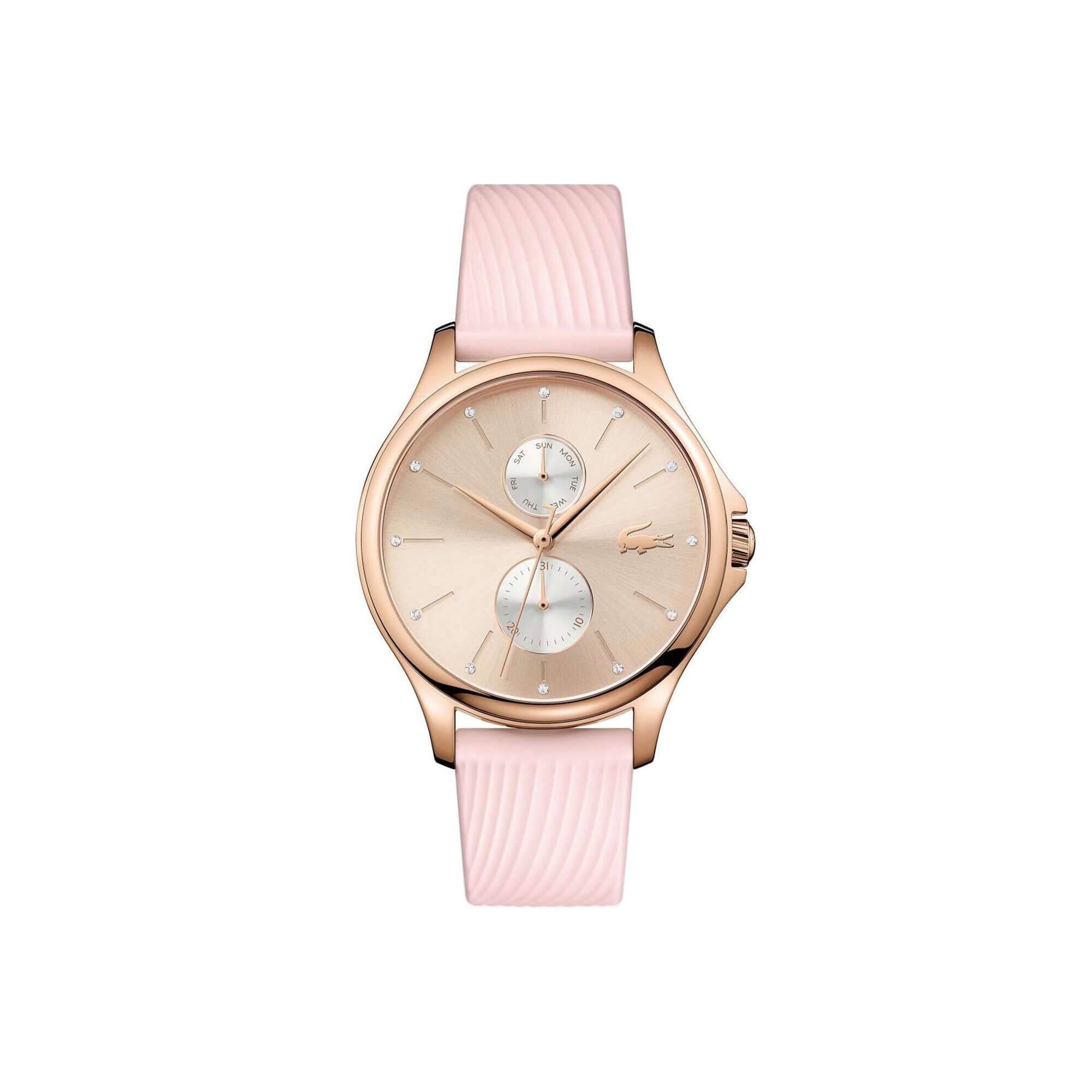 Relógio multifunções Kea de mulher com bracelete de silicone rosa