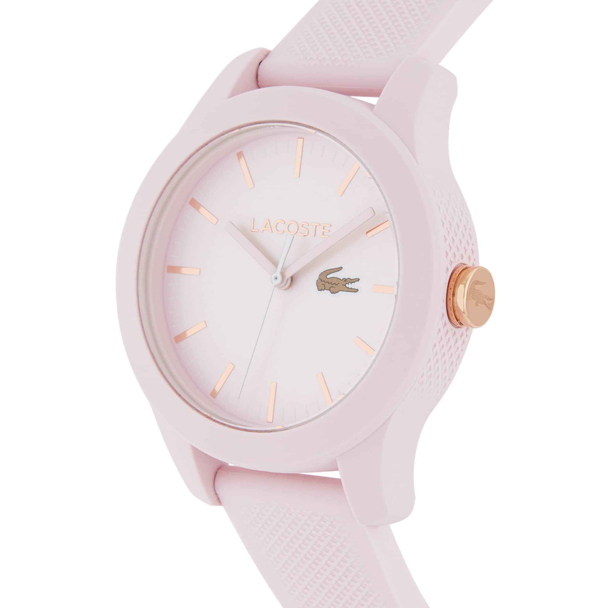 Relógio Lacoste 12.12 de mulher com bracelete de silicone rosa
