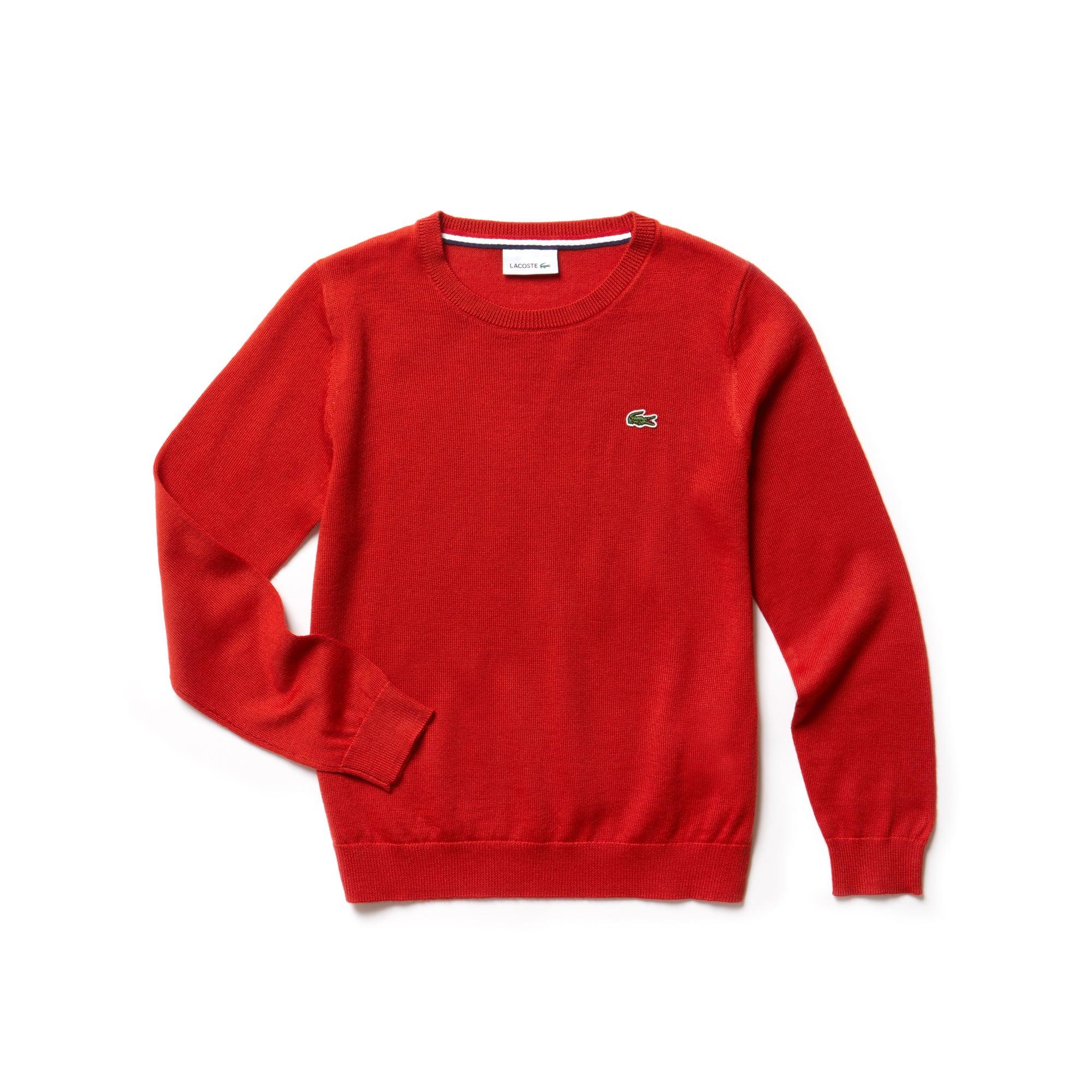 Camisola decote redondo Menino em mistura de jersey de lã unicolor