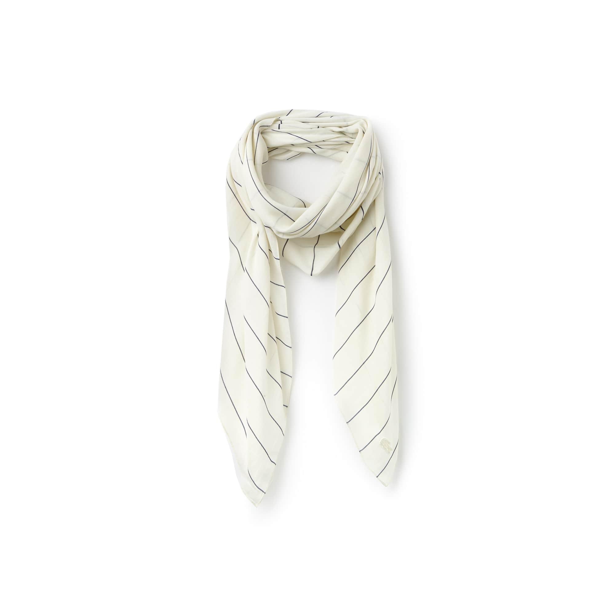 Écharpe quadrada em voile de algodão às riscas finas