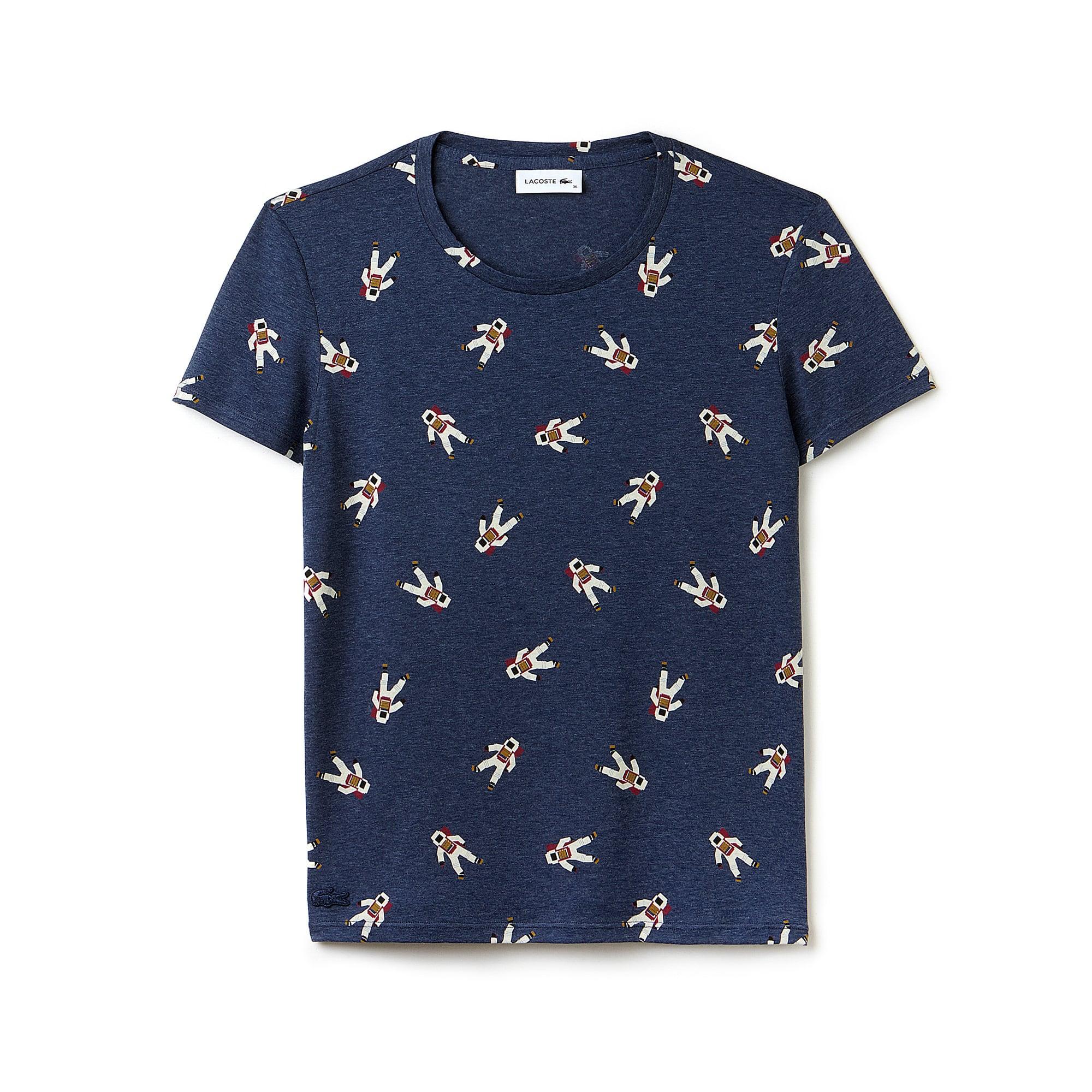 T-shirt decote redondo em jersey fluido com impressão cosmonautas