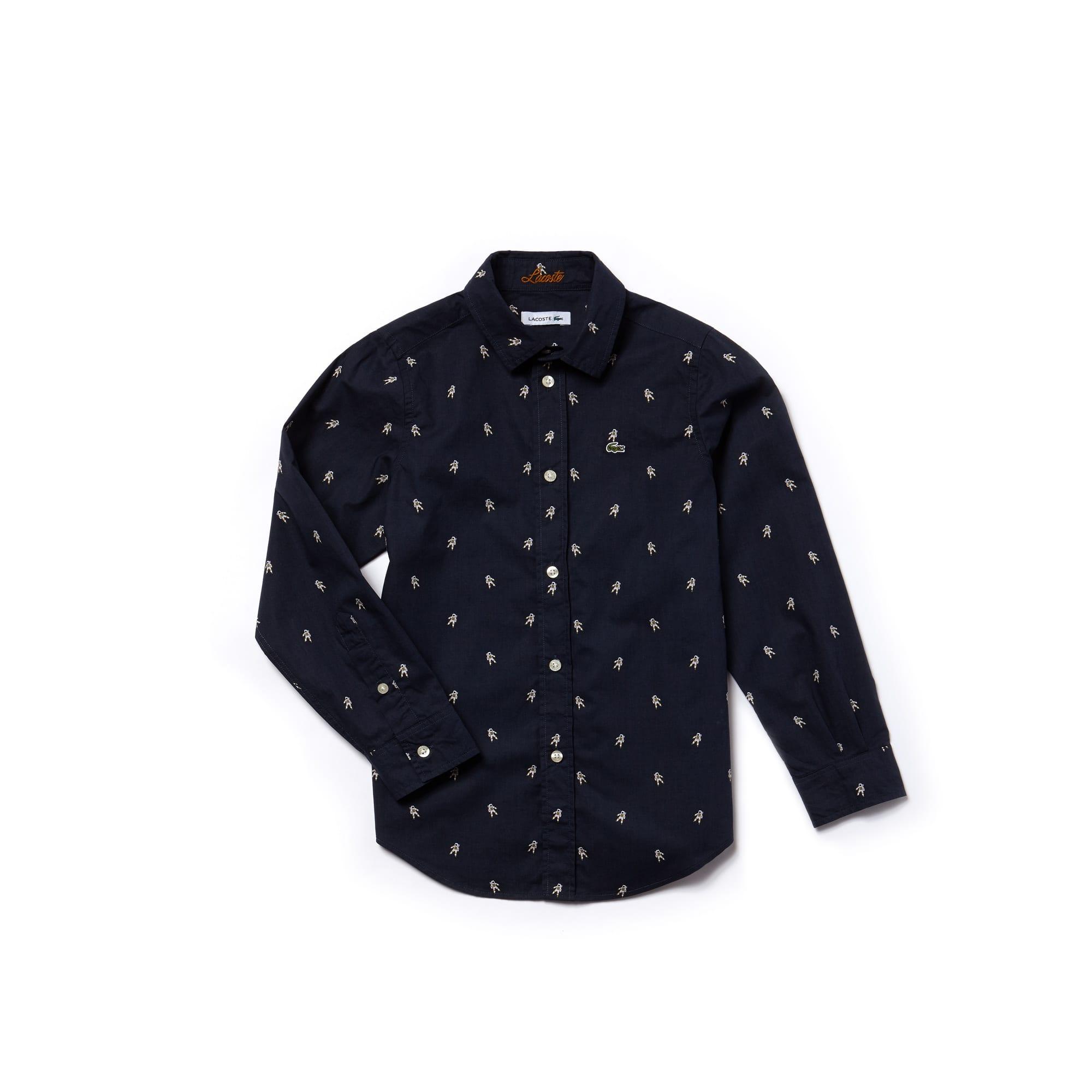 Camisa menino em popelina com impressão cosmos
