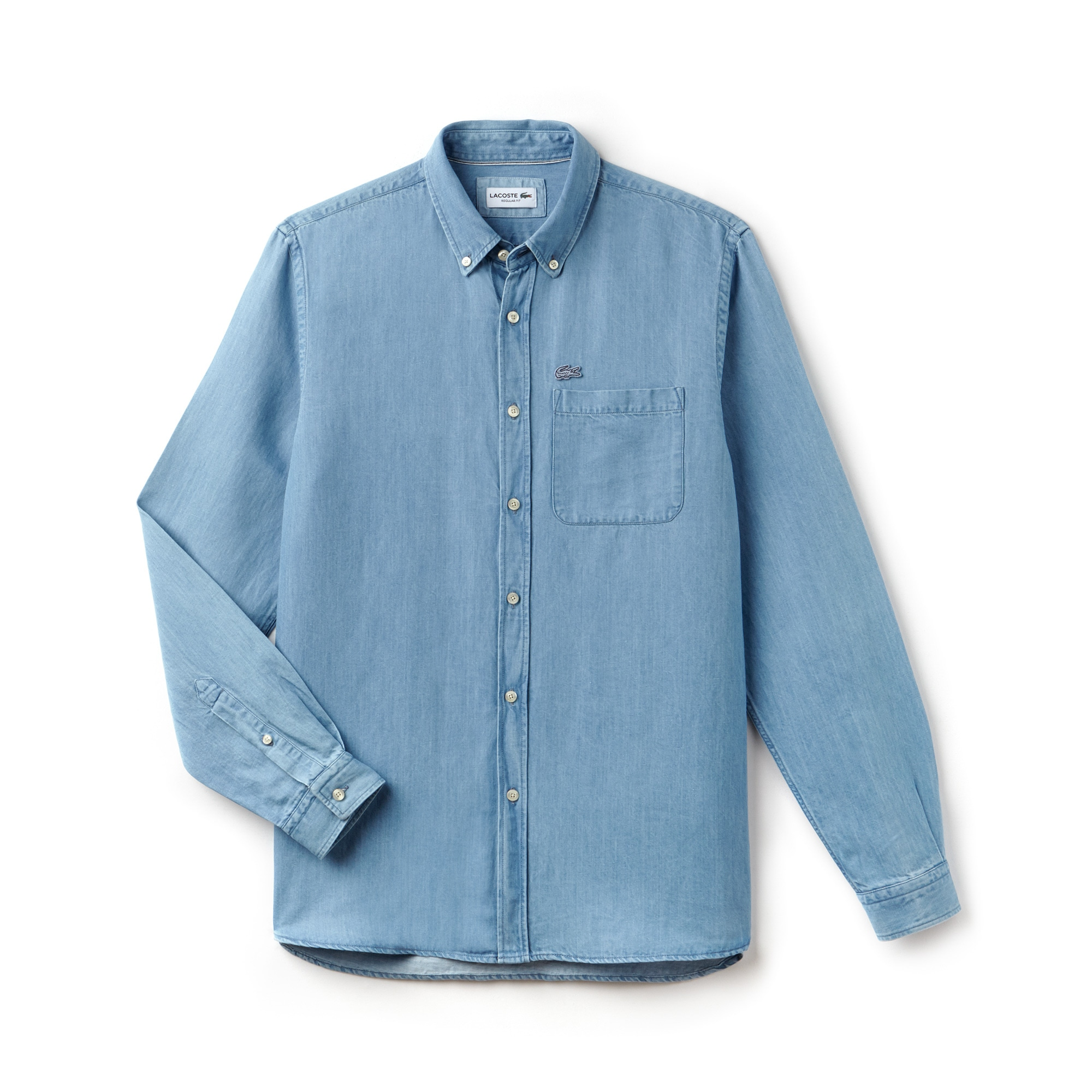 Camisa regular fit em ganga de algodão e linho unicolor
