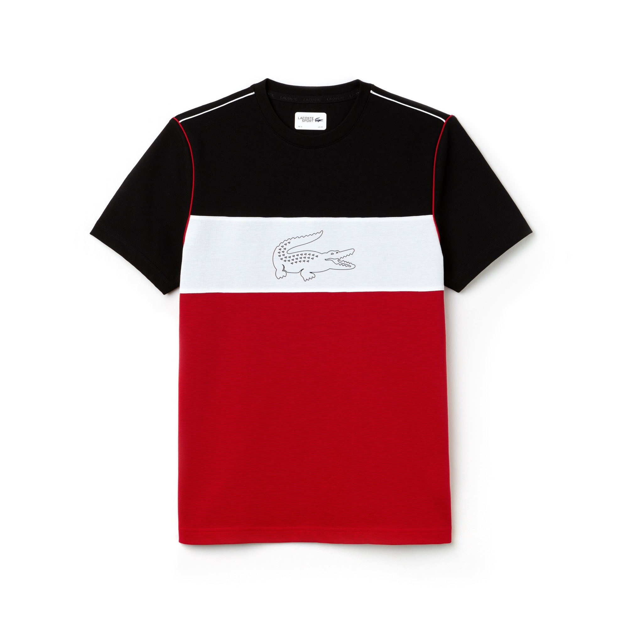 T-shirt Lacoste SPORT em algodão superleve técnico color block