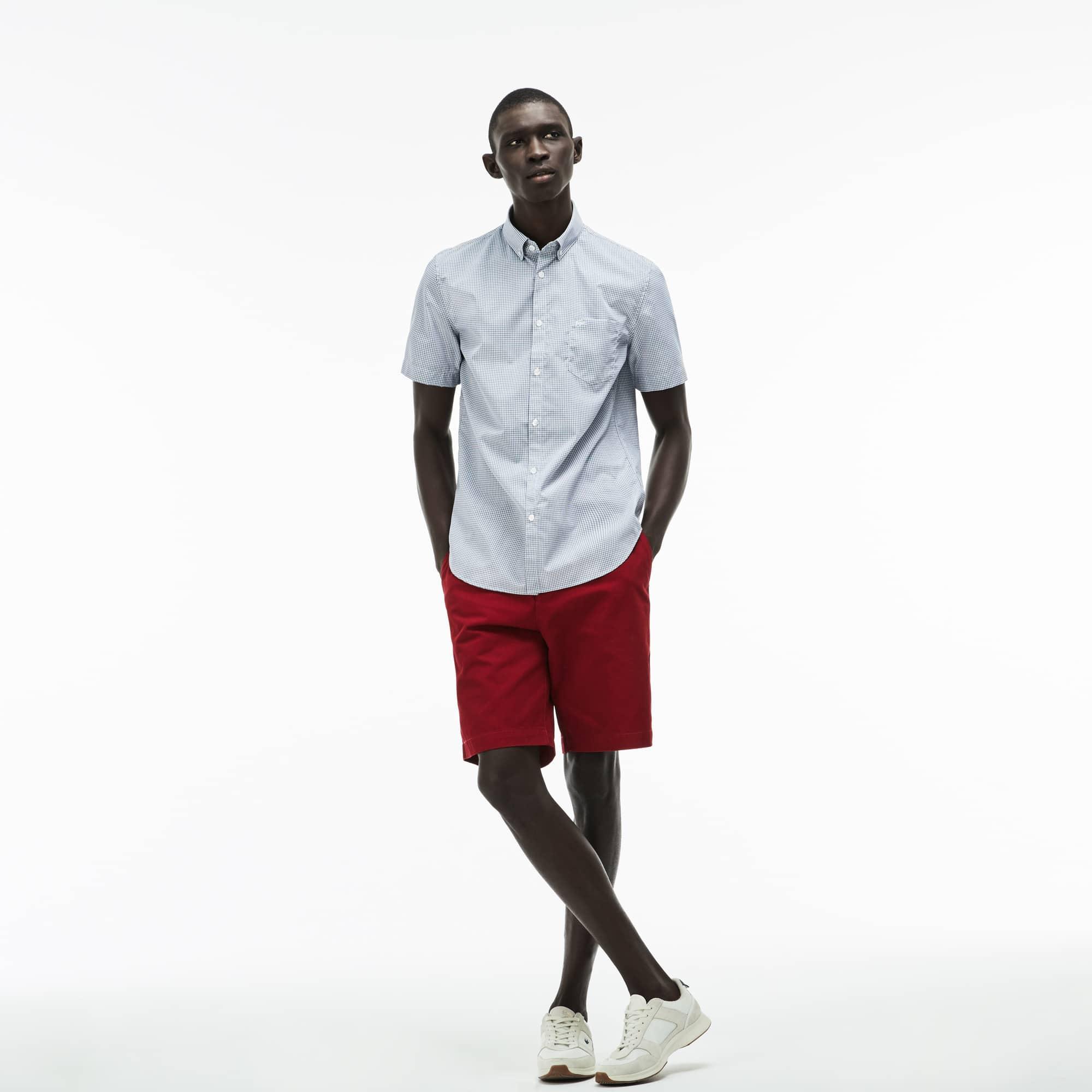 Camisa Regular Fit de manga curta em popelina aos quadradinhos