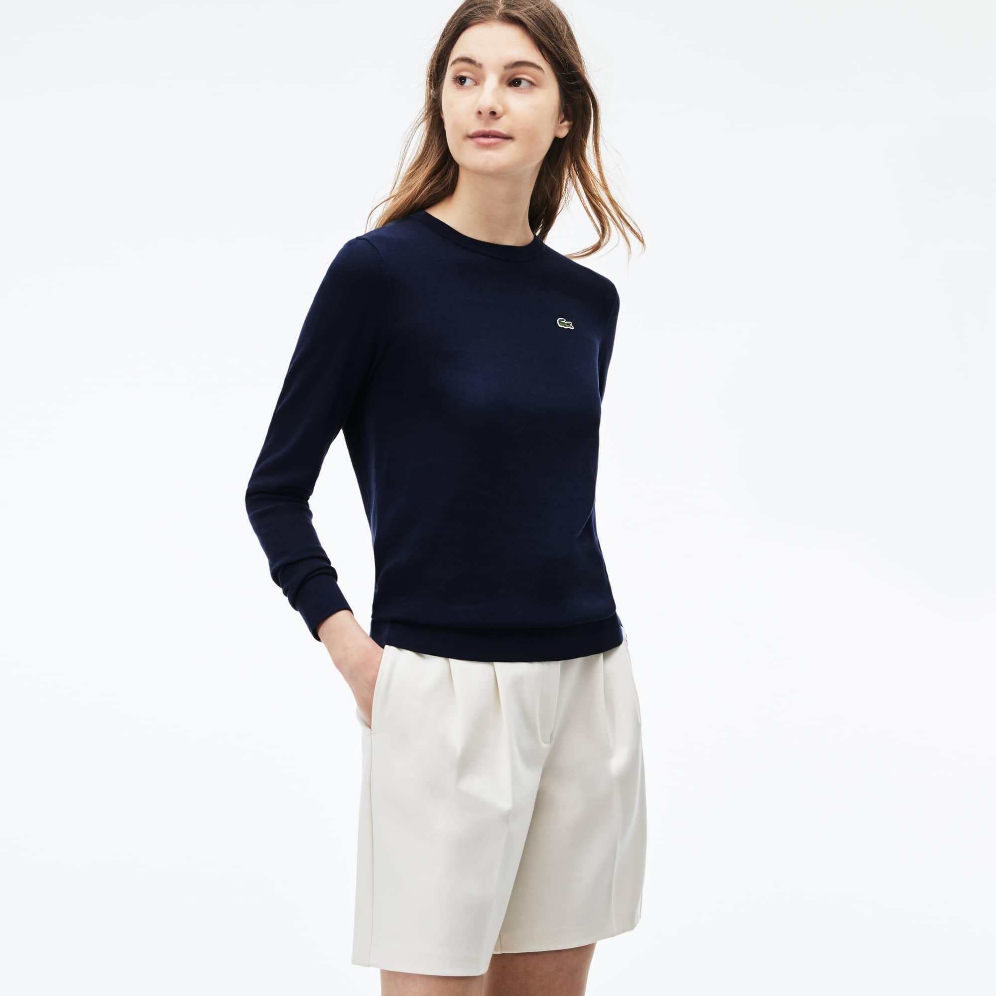 Camisola decote rente ao pescoço em jersey de algodão às riscas
