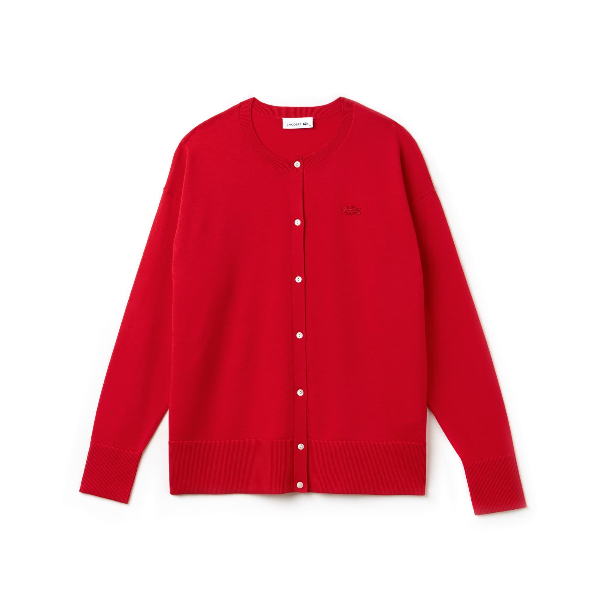 Casaco decote rente ao pescoço em jersey de algodão unicolor
