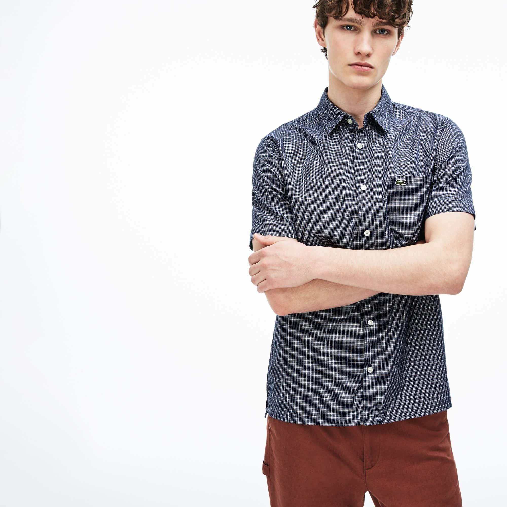 Camisa Regular Fit de manga curta em popelina aos quadrados