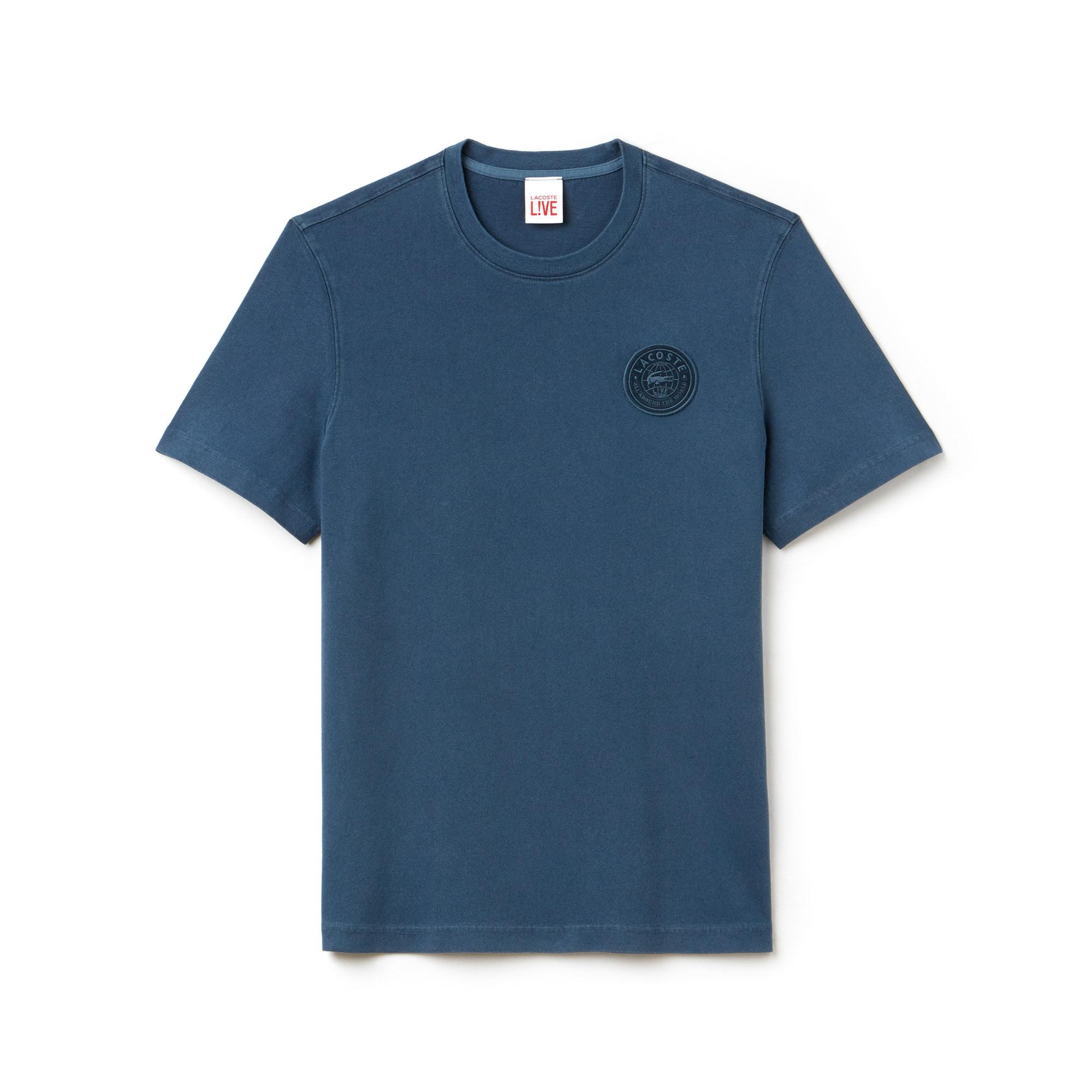 T-shirt decote redondo Lacoste LIVE em jersey desbotado com crachá