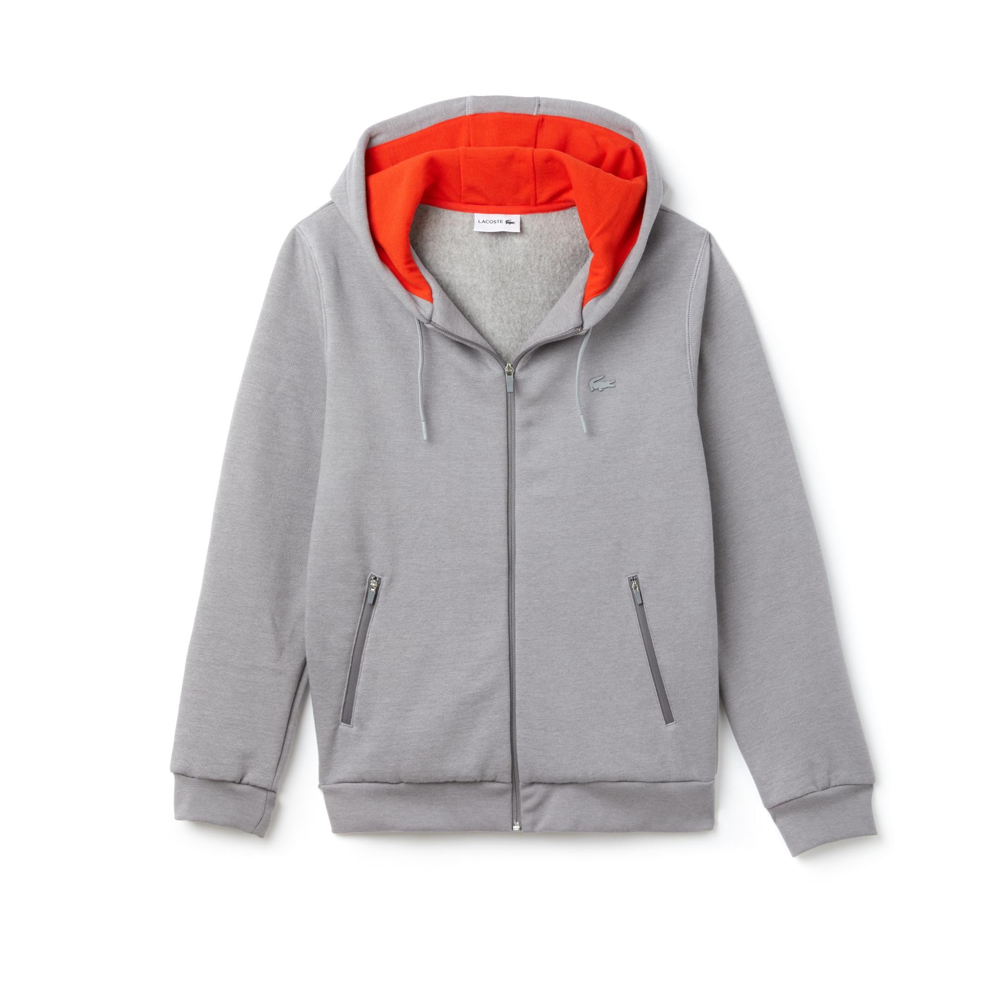 Sweatshirt com fecho de correr com capuz Lacoste Motion em moletão unicolor
