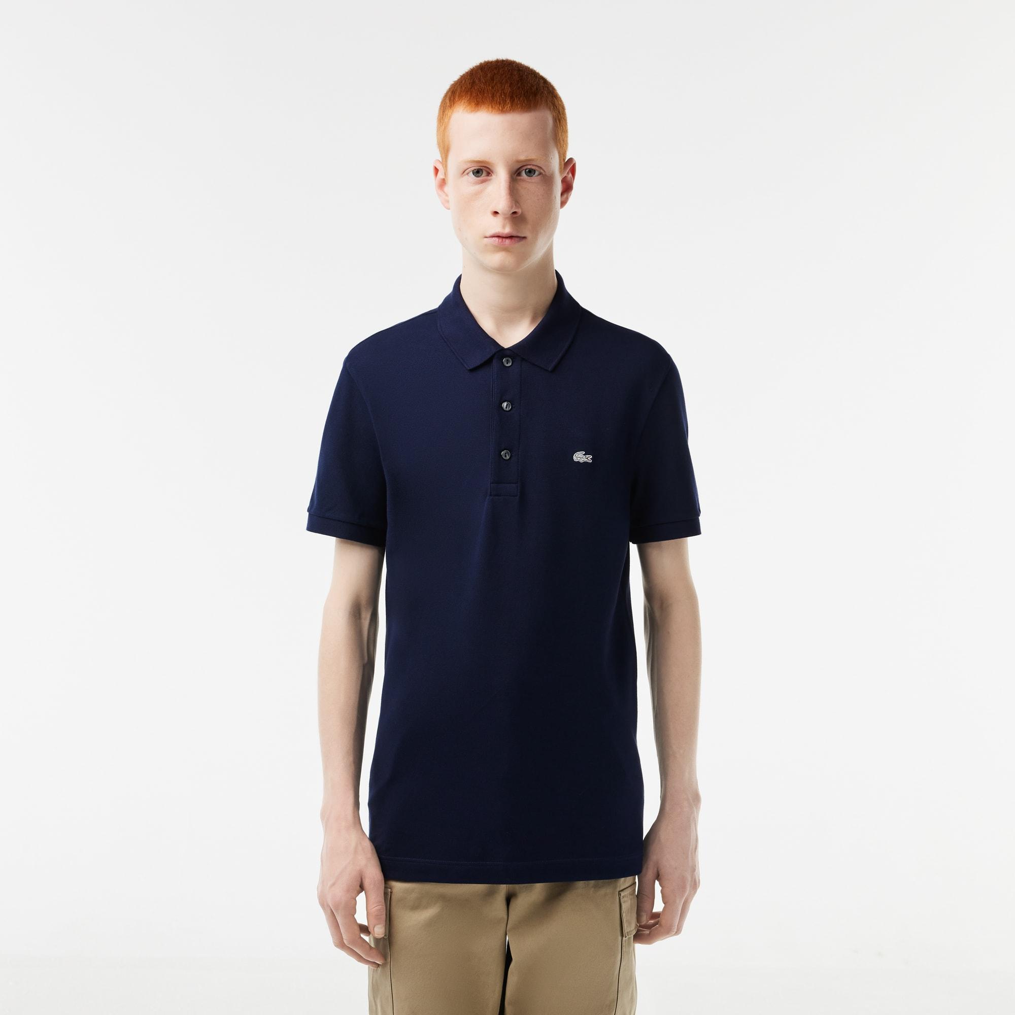 Polo Lacoste slim fit em petit piqué stretch unicolor