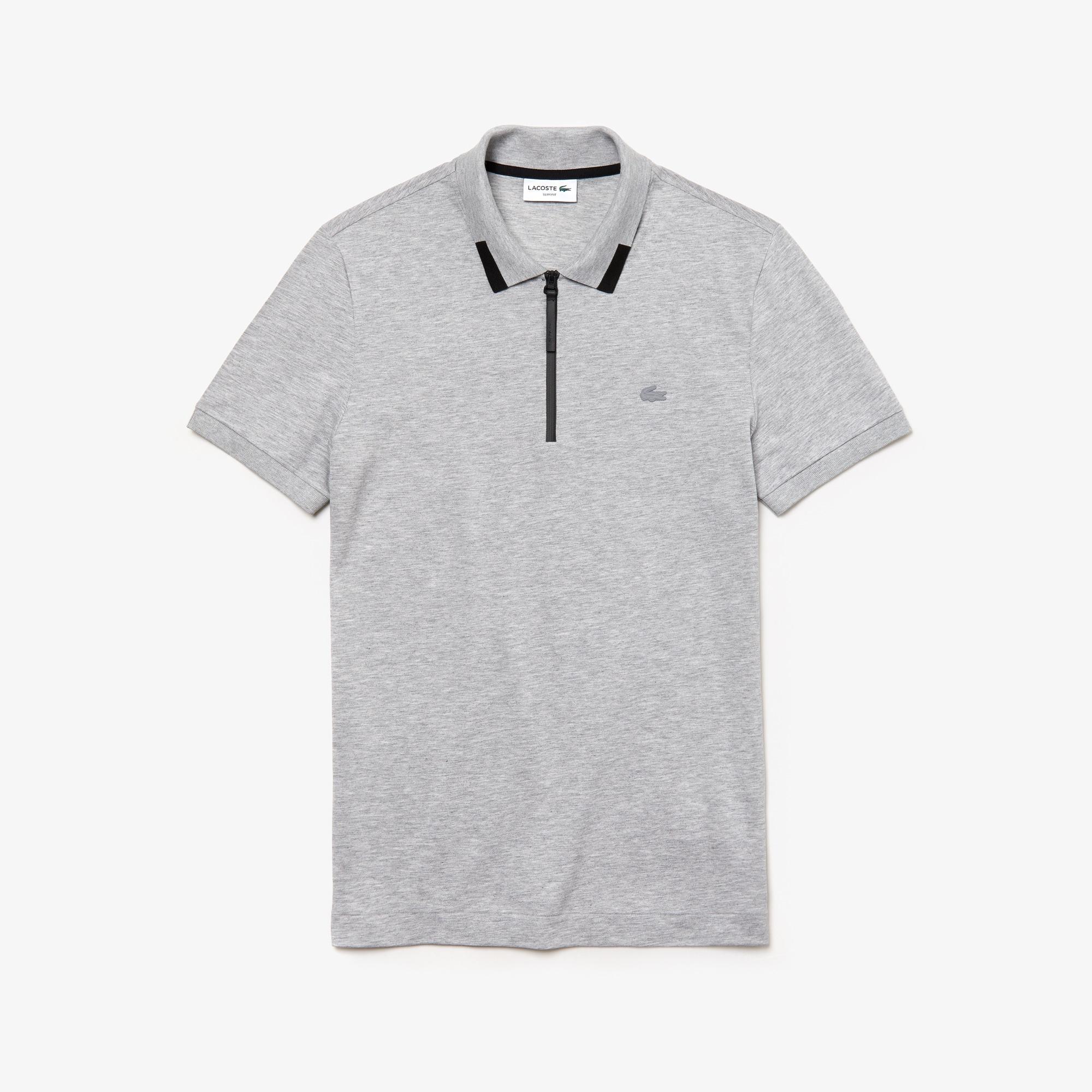 Camisa polo piqué de algodão com gola de zip slim fit Lacoste Motion para  homem f945383597