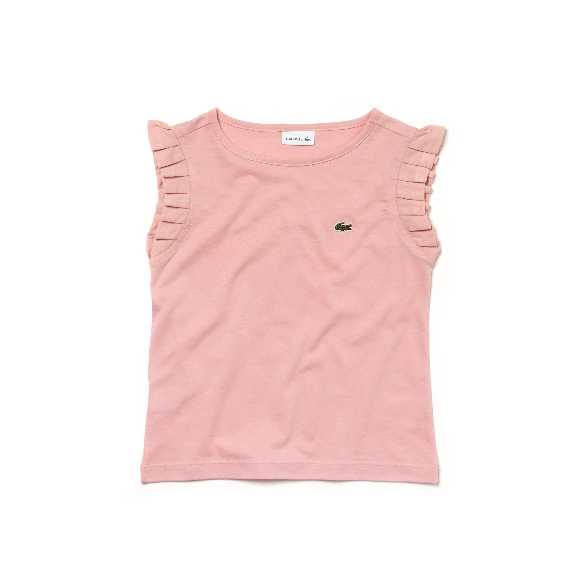 T-shirt Menina decote redondo em jersey com ombros com folhos