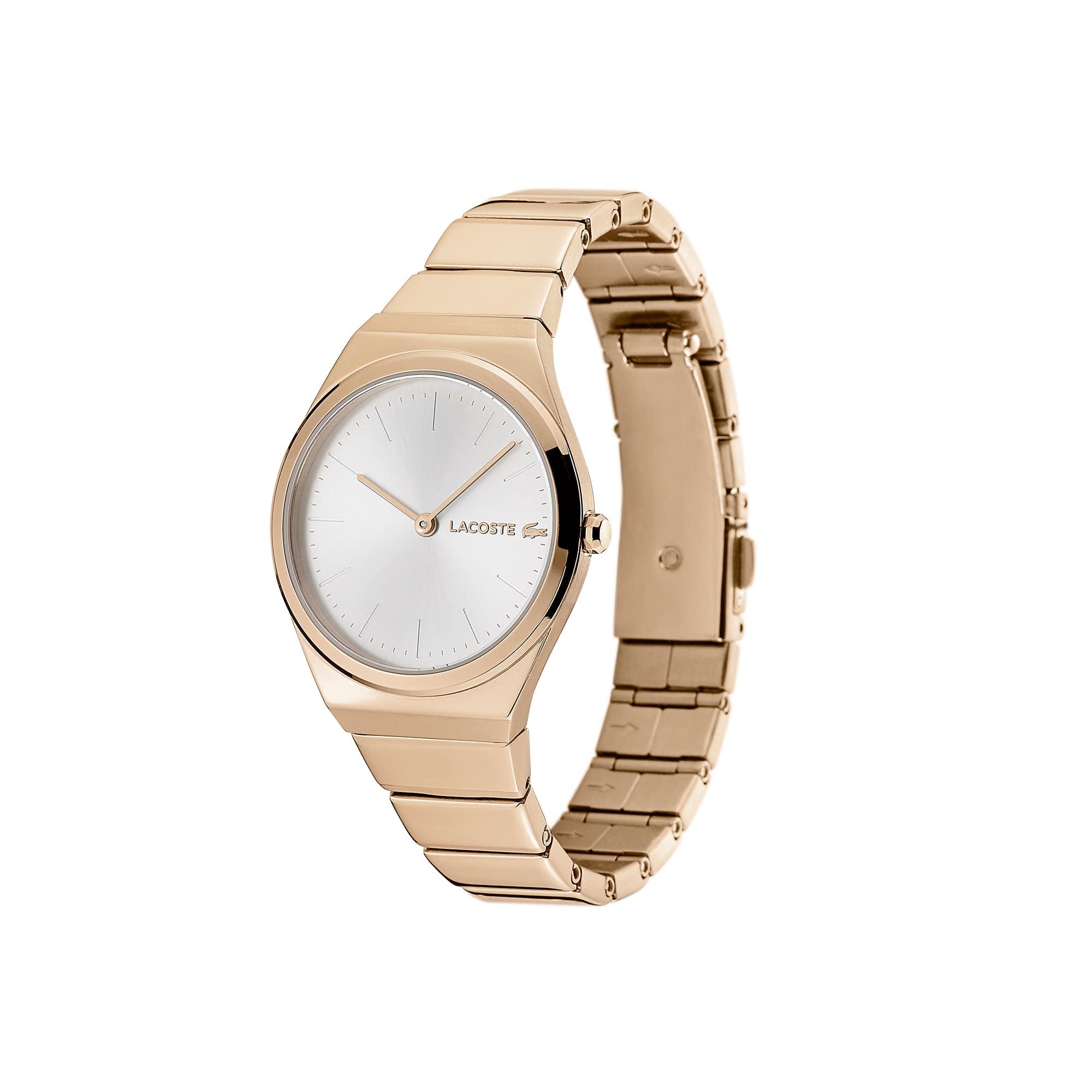 Relógio Mia de mulher com bracelete cromada em ouro rosa